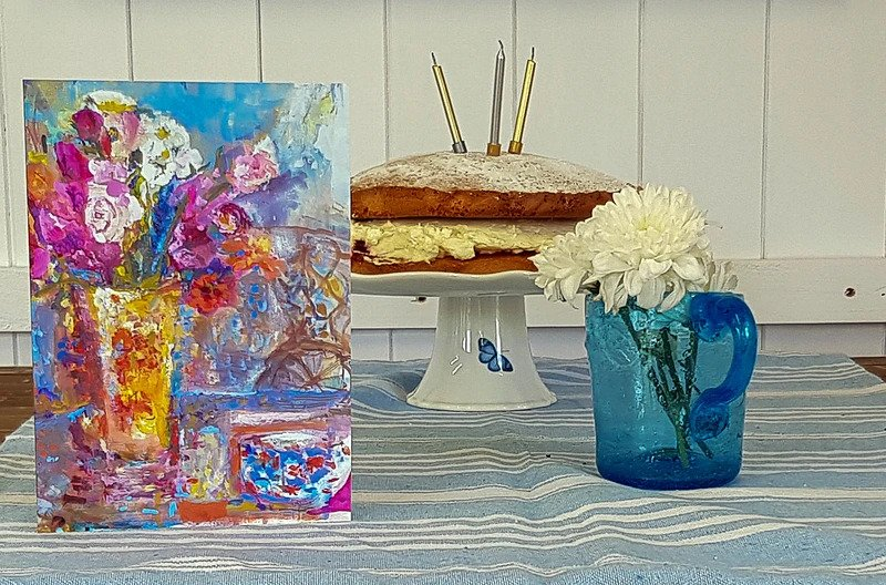 Summer Picnic Greeting Card by Judi Glover Art used as an Artistic Birthday Card