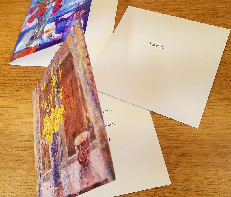 Free handwritten message service for all art greeting cards by Judi Glover Art