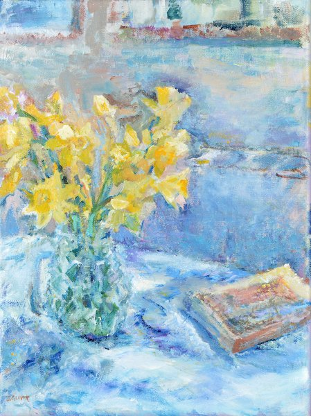 Painting of daffodils called First Daffodils showing first of the year early yellow daffodils. Available as daffodil cards, daffodil prints and daffodil wall art at Judi Glover Art