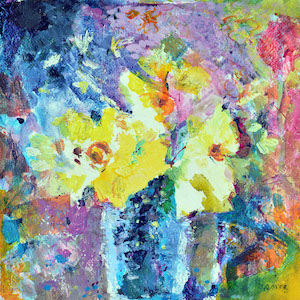 Happy Flowers which is a painting of daffodils available as daffodil cards, daffodil prints and a daffodil canvas