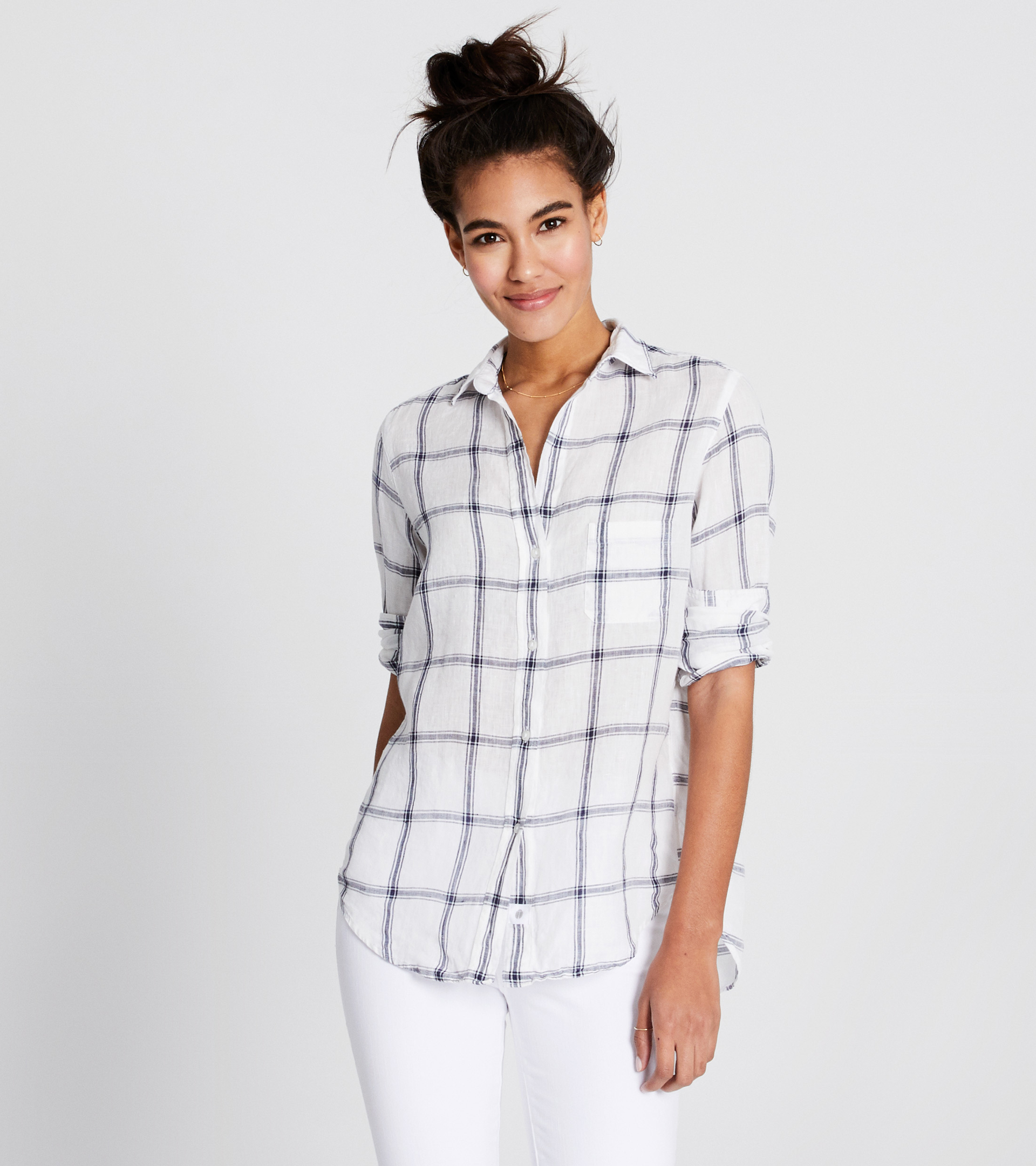 Image of The Hero Navy and White Plaid, Tumbled Linen Sale