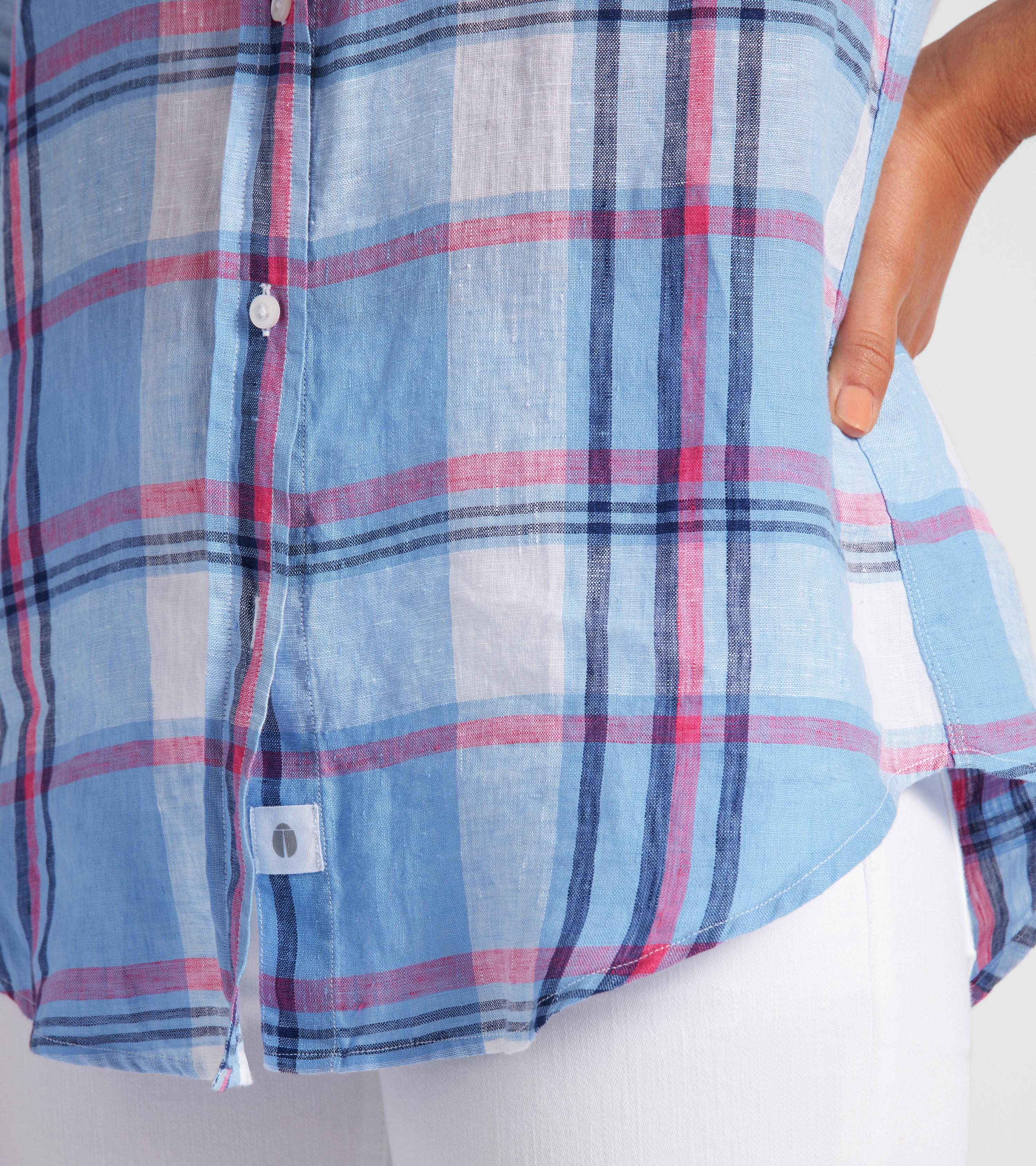 Image of The Hero Blue with Pink and Navy Plaid, Tumbled Linen