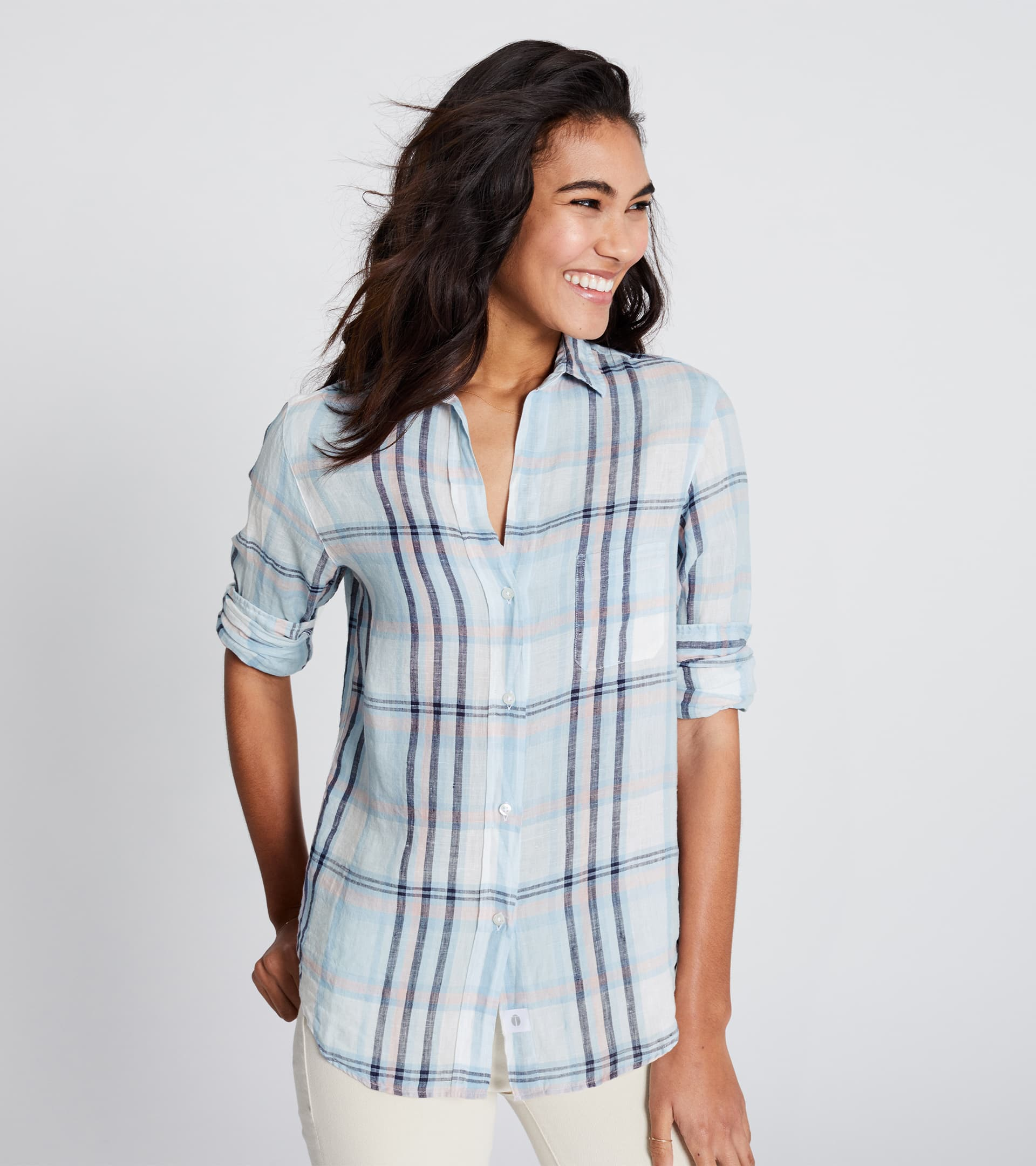 Image of The Hero Seafoam with Pink and Navy Plaid, Tumbled Linen