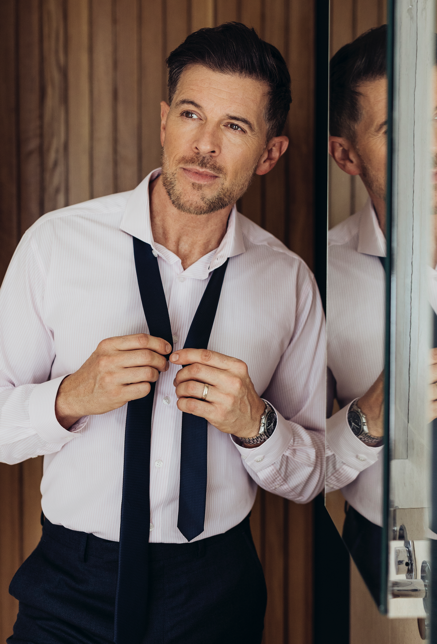 Tailored Fit Pink Candy Stripe Single Cuff Shirt