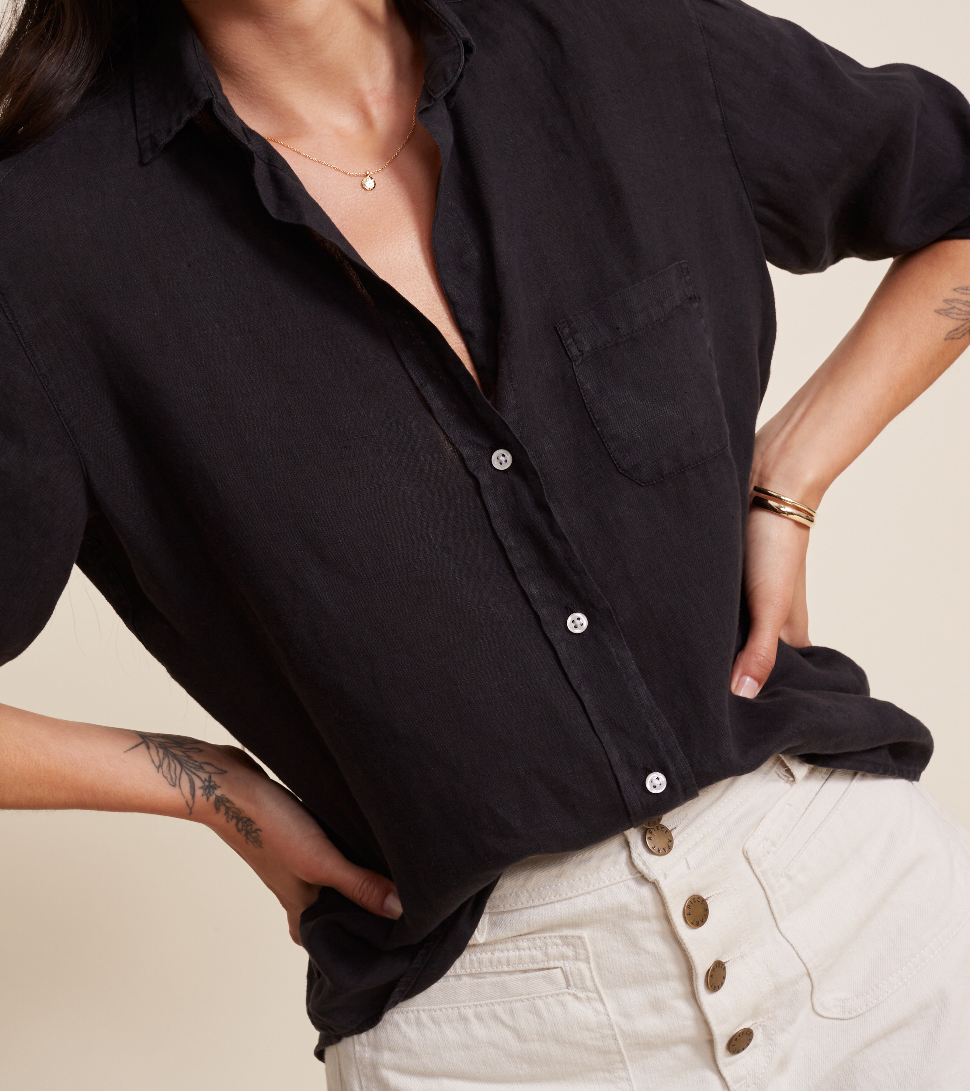 Image of The Hero Button-Up Shirt Black, Tumbled Linen