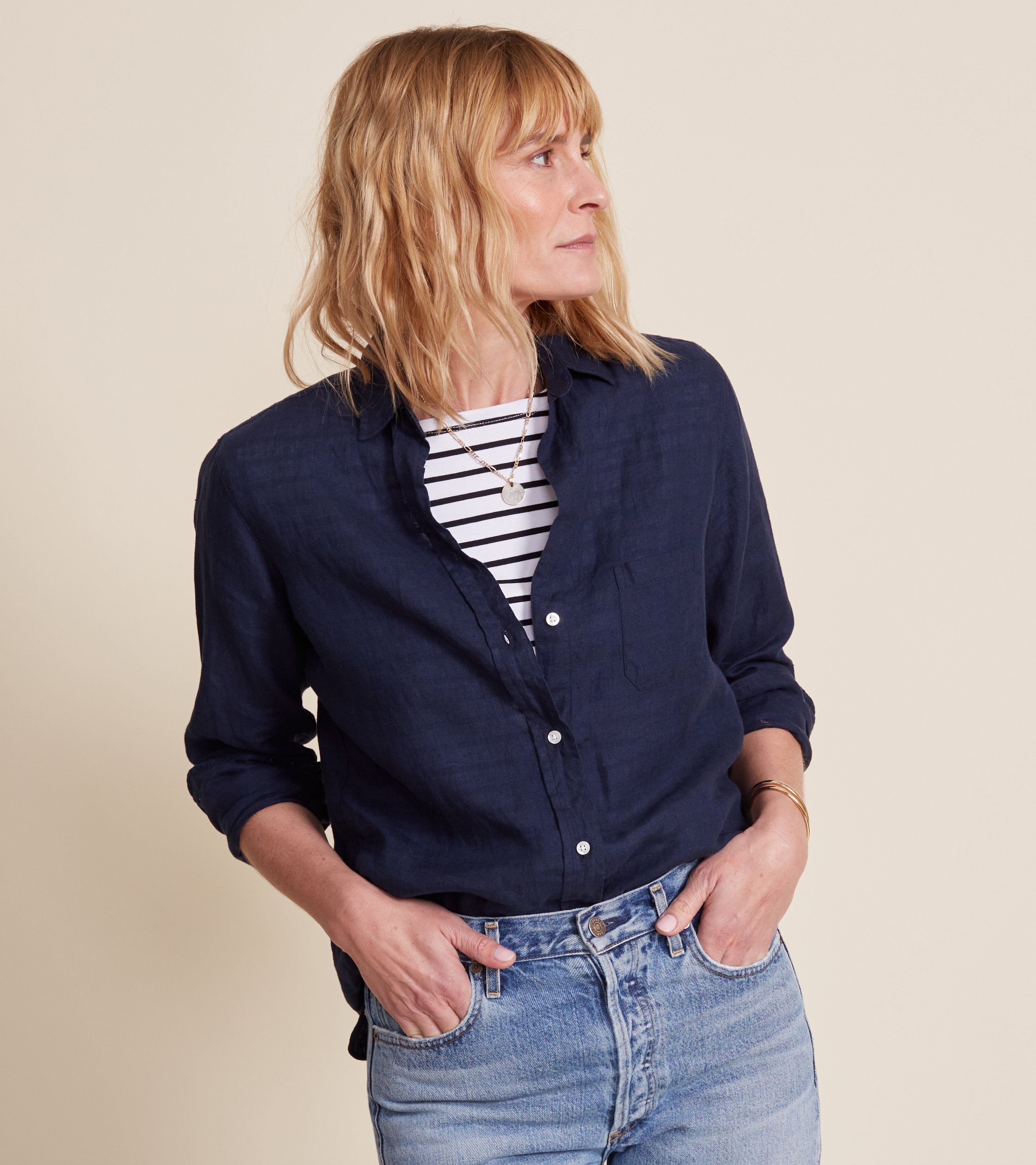 The Hero Button-Up Shirt Navy, Tumbled Linen view 2