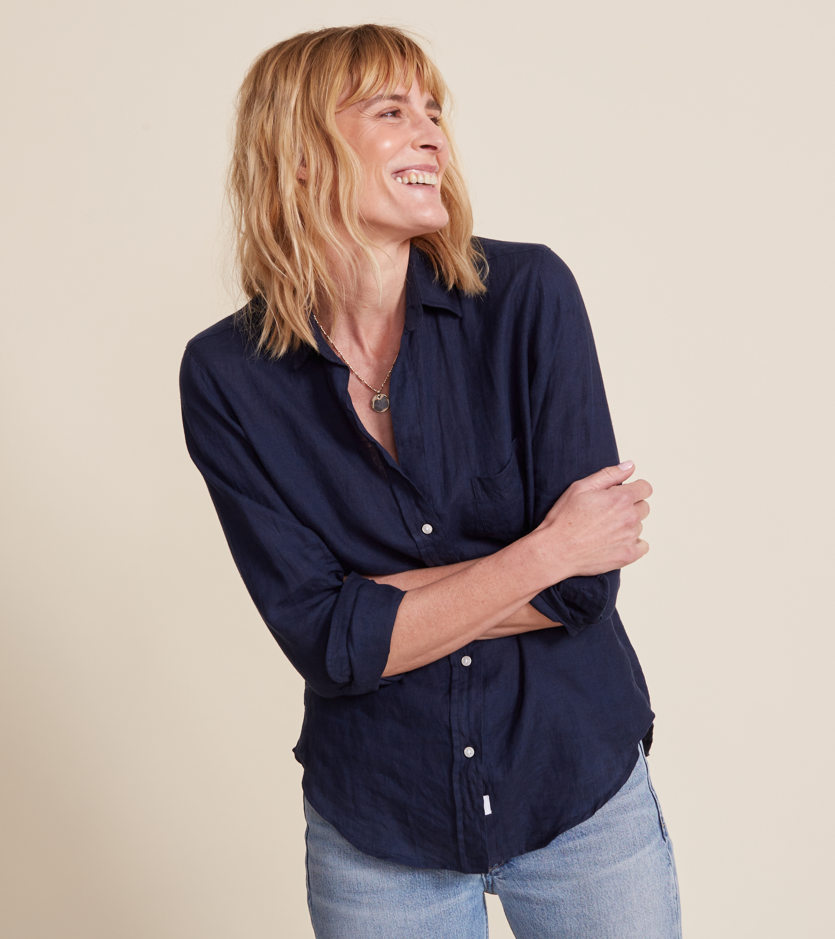 The Hero Button-Up Shirt Navy, Tumbled Linen view 1