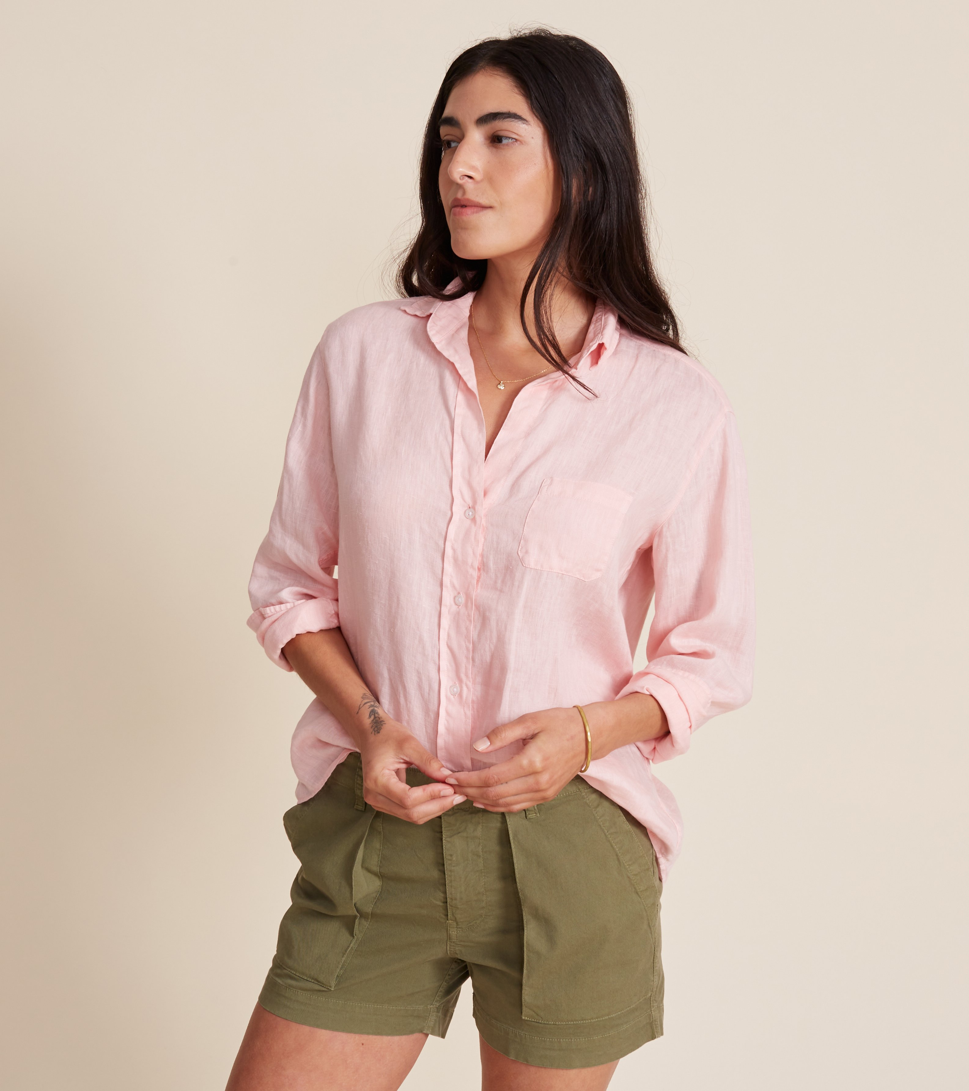 Image of The Hero Button-Up Shirt Petal Pink, Tumbled Linen
