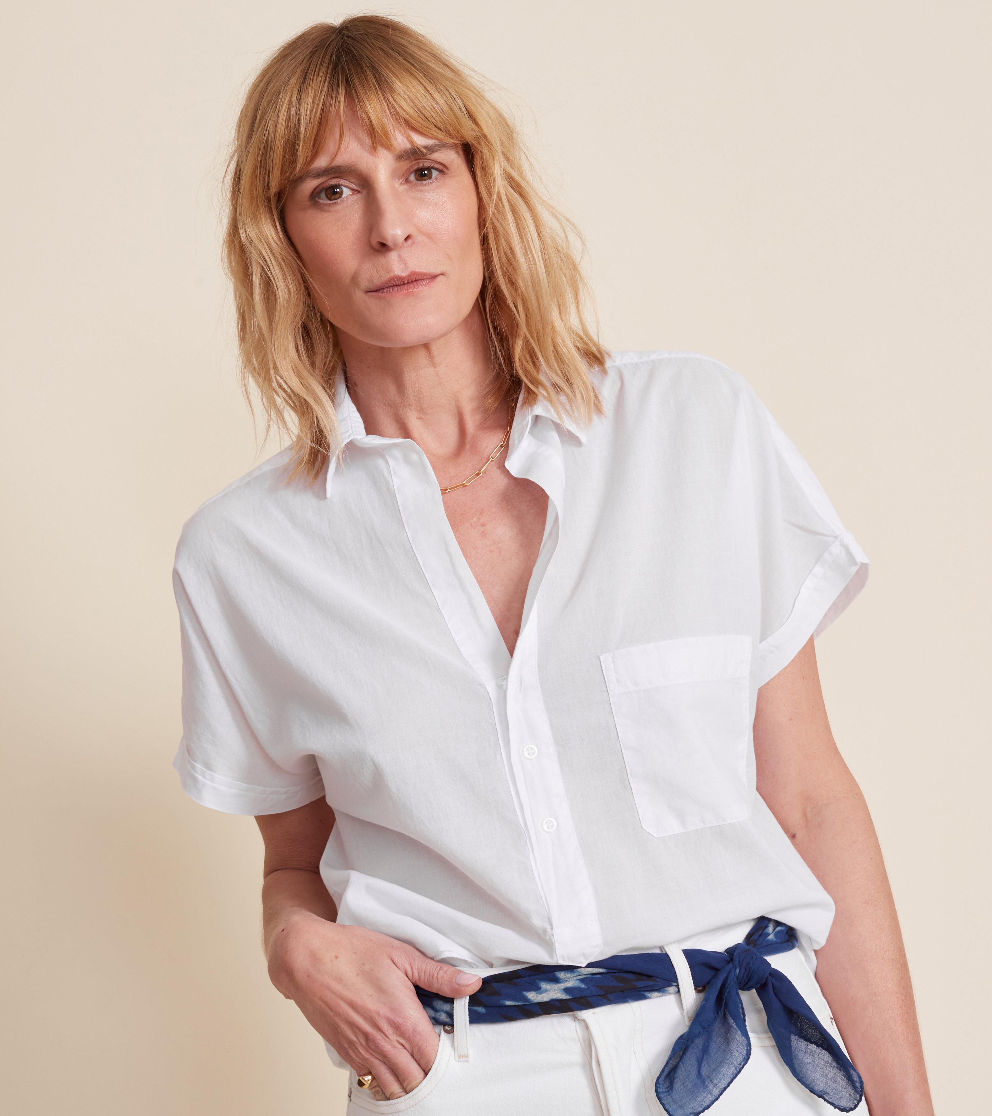 Image of The Artist Short Sleeve Shirt White, Tissue Cotton Final Sale