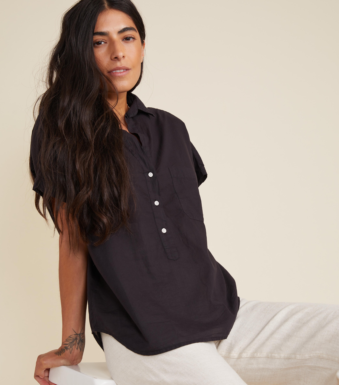 Image of The Artist Short Sleeve Shirt Black, Tissue Cotton