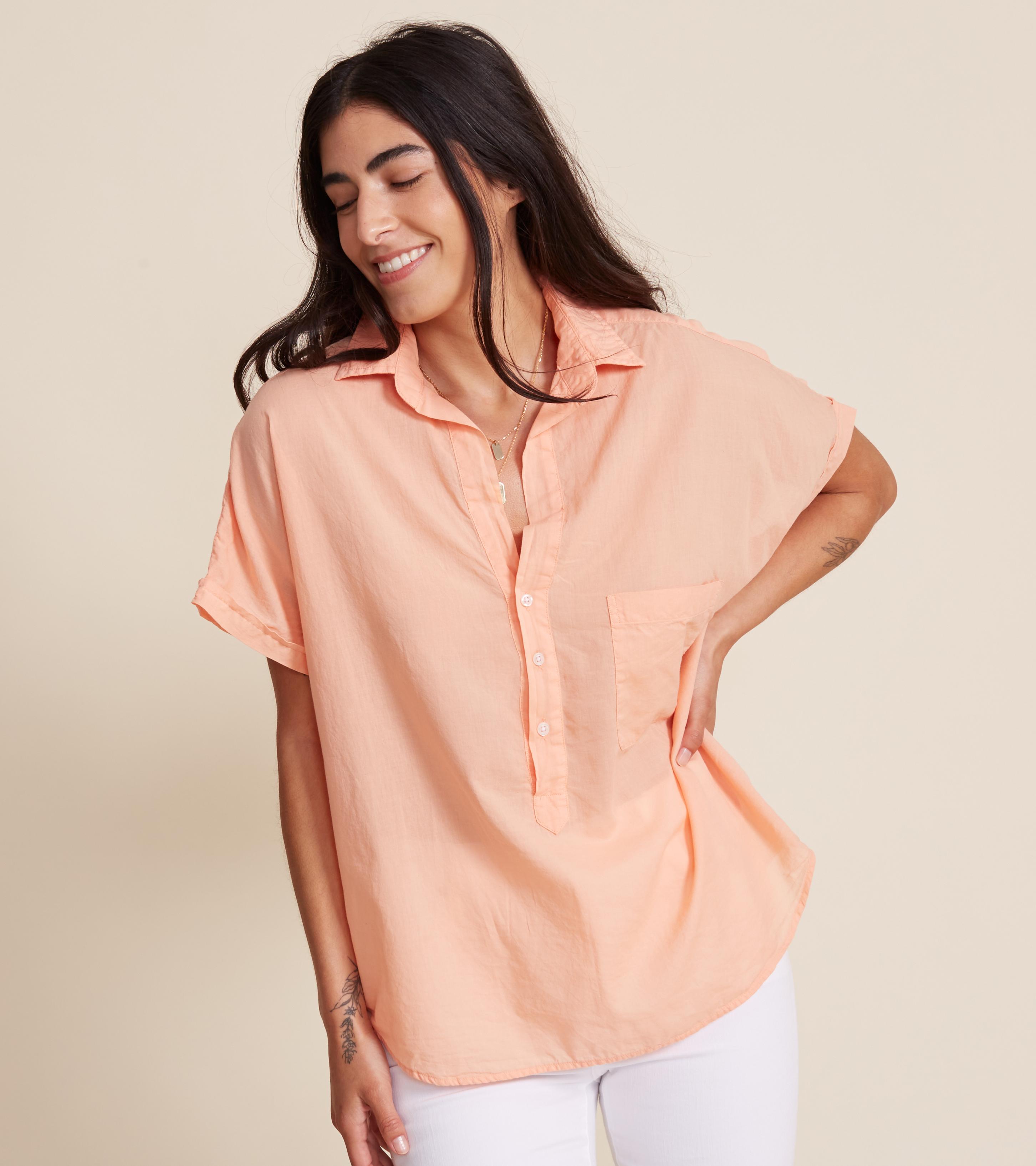 Image of The Artist Short Sleeve Shirt Cantaloupe, Tissue Cotton Final Sale