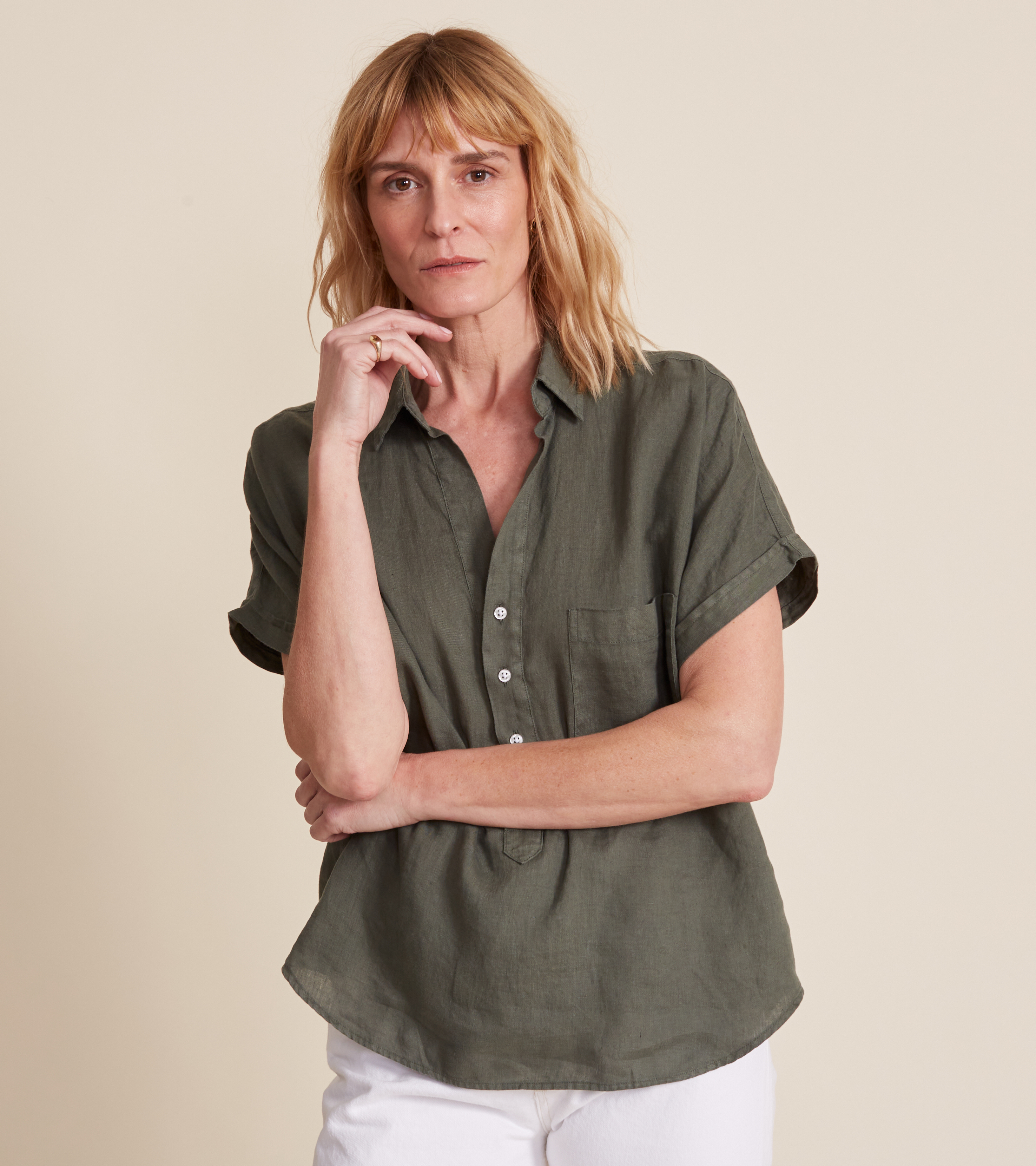 Image of The Artist Short Sleeve Shirt Army Green, Tumbled Linen Final Sale