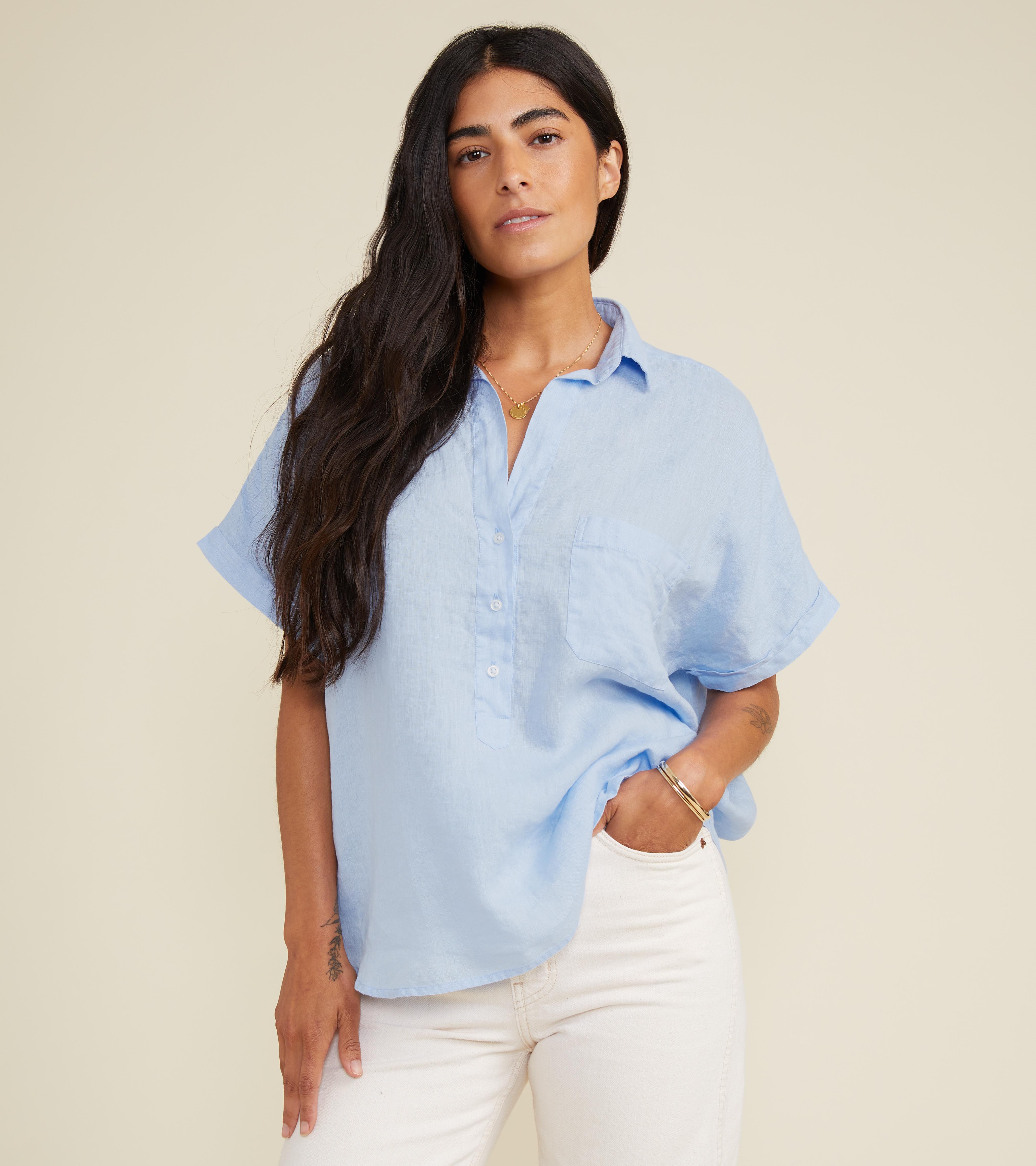 Image of The Artist Short Sleeve Shirt Cloud, Tumbled Linen Final Sale