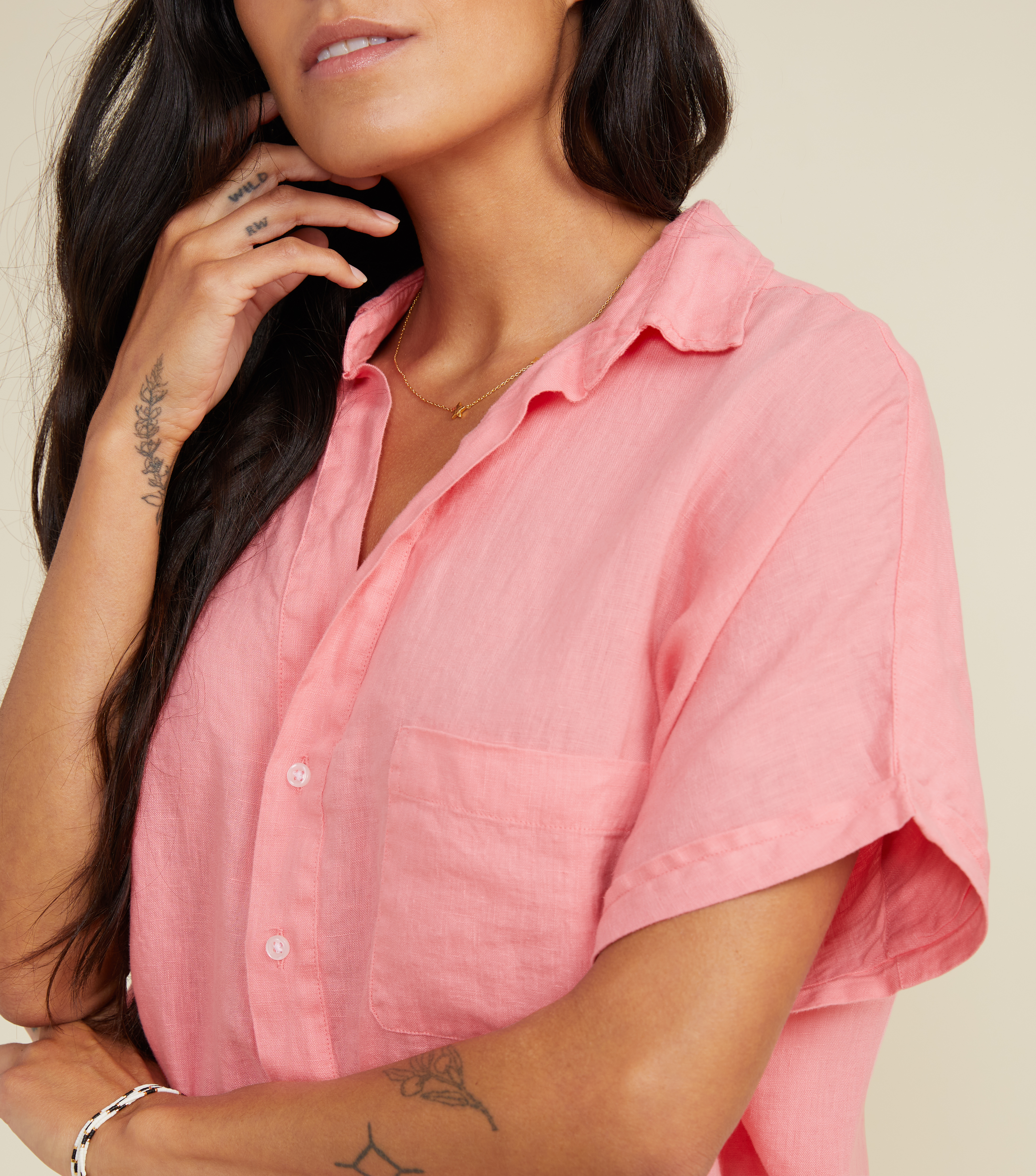 Image of The Artist Short Sleeve Shirt Hibiscus, Tumbled Linen Final Sale