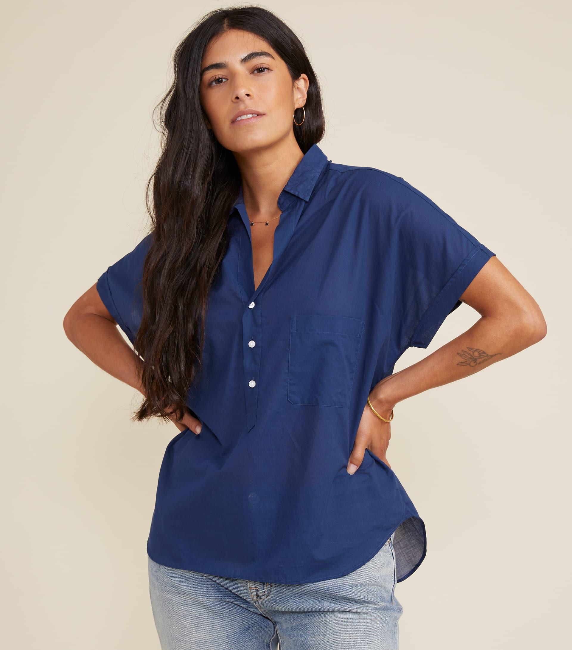 Image of The Artist Short Sleeve Shirt Navy, Tissue Cotton Final Sale