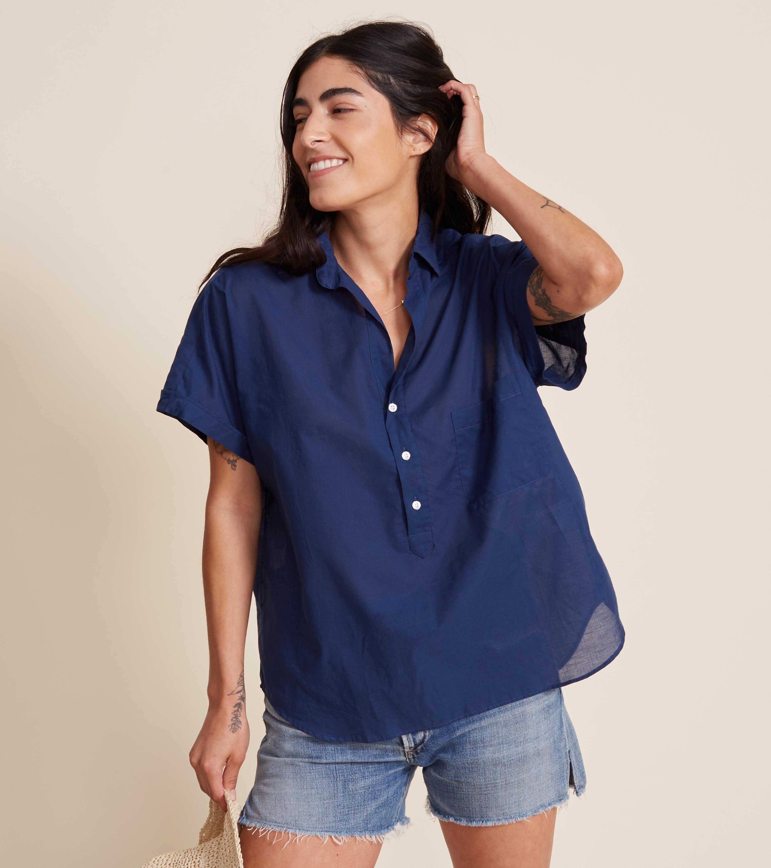 Image of The Artist Short Sleeve Shirt Navy, Tissue Cotton