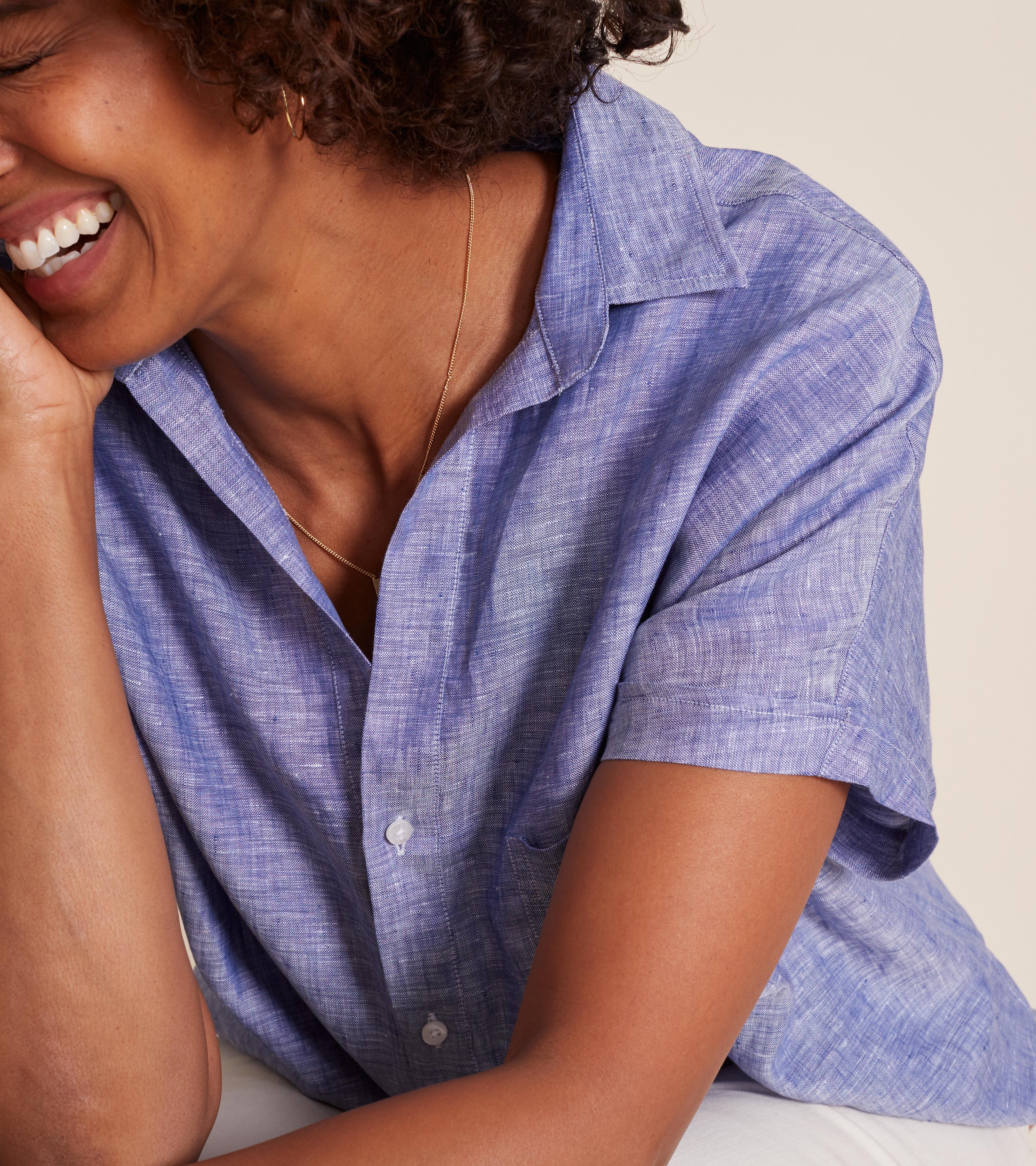 Image of The Artist Short Sleeve Shirt Dark Blue, Tumbled Linen Final Sale