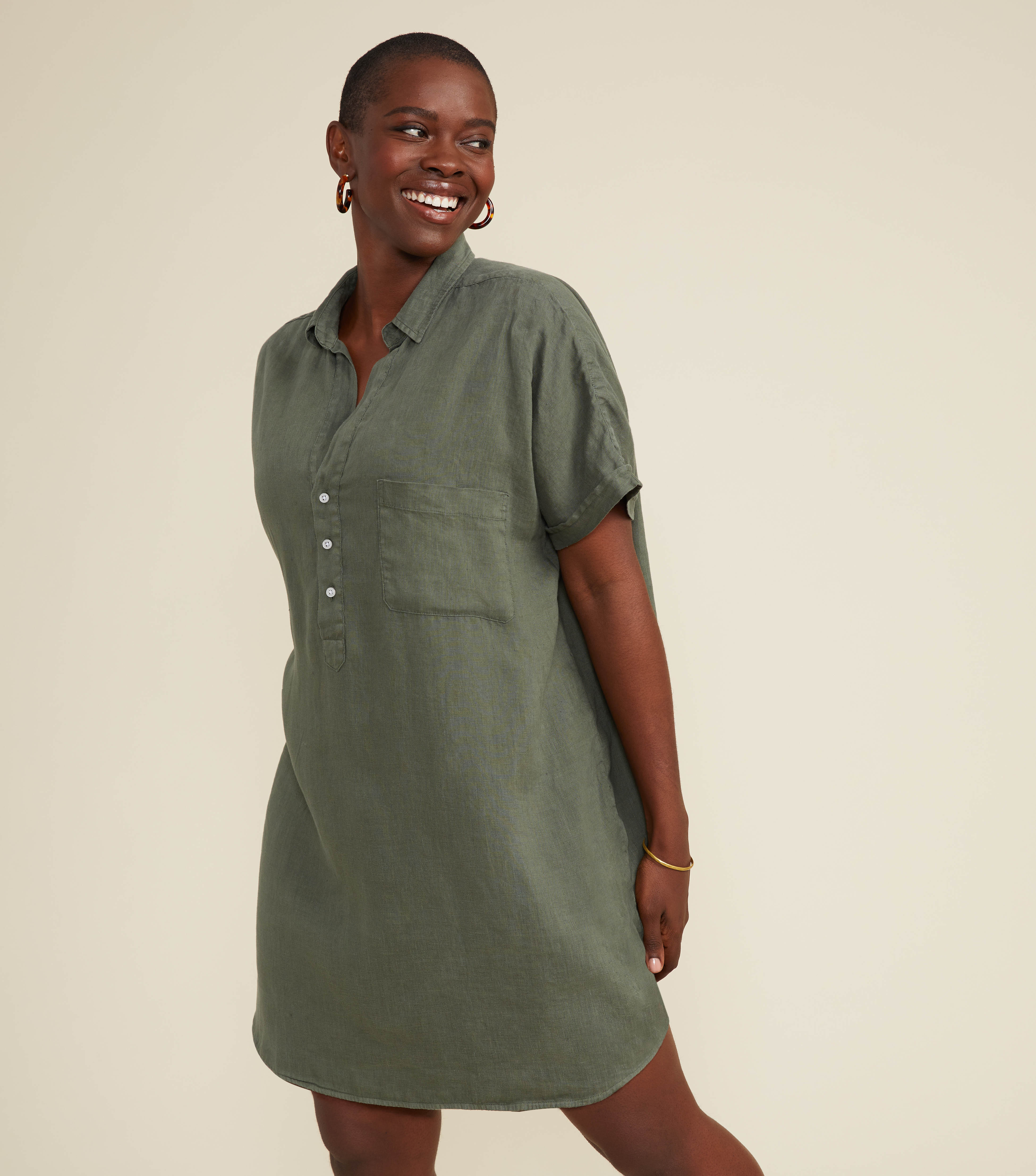 Image of The Artist Short Sleeve Dress Army Green, Tumbled Linen