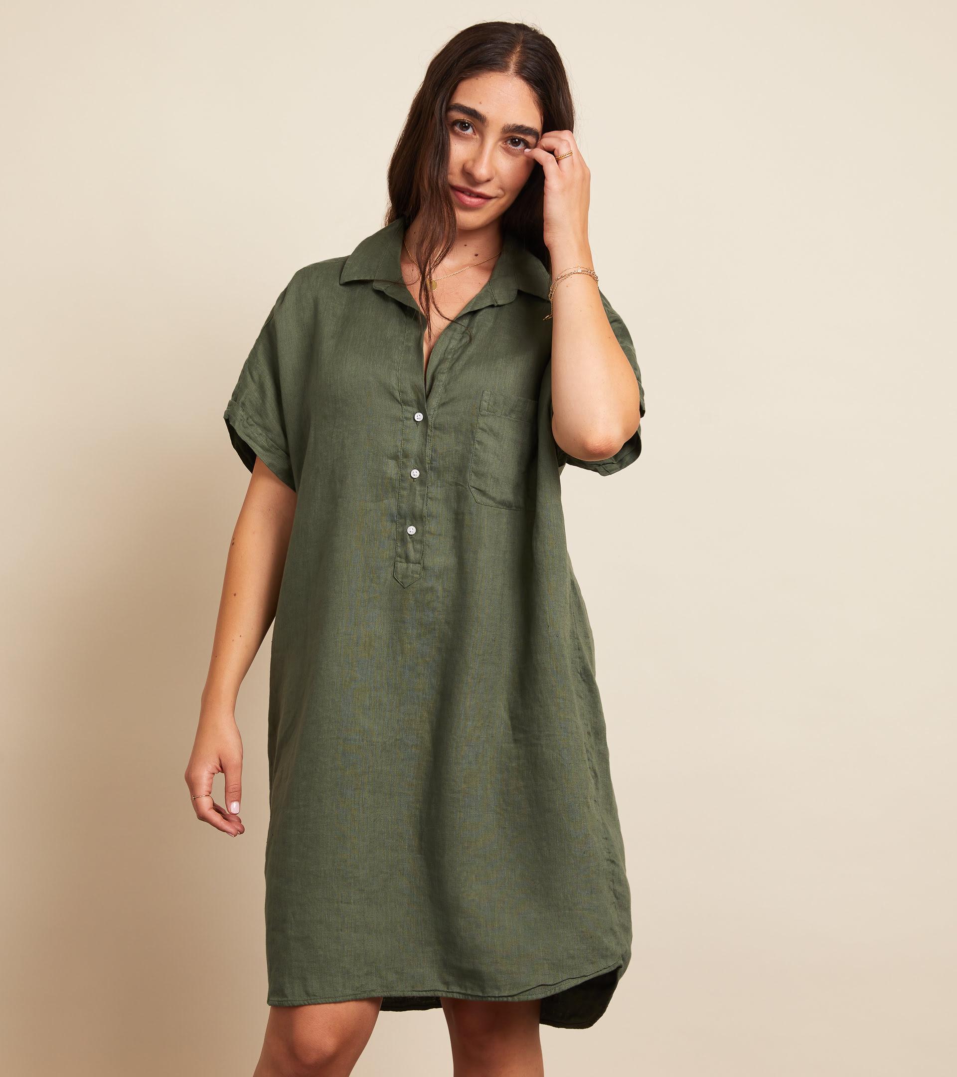 The Artist Short Sleeve Dress Army Green, Tumbled Linen Final Sale view 2