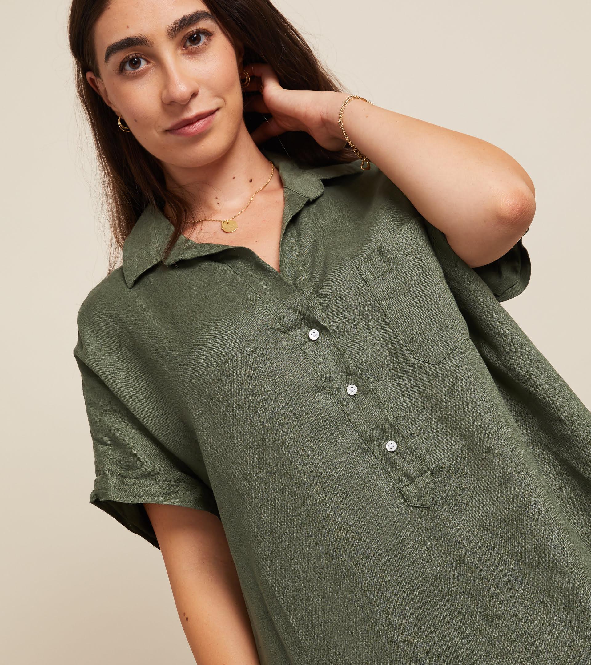The Artist Short Sleeve Dress Army Green, Tumbled Linen Final Sale view 1