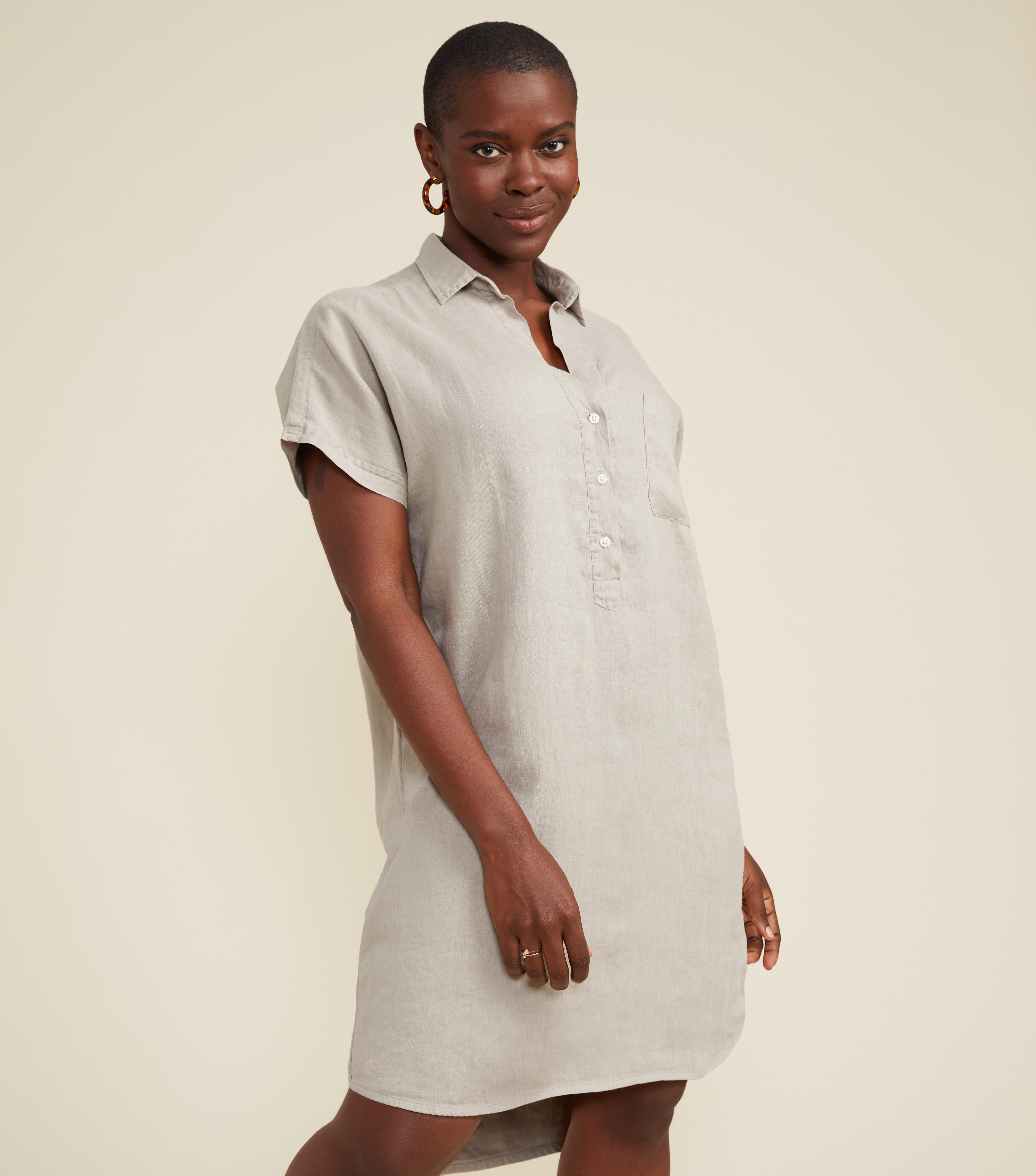 Image of The Artist Short Sleeve Dress Sand, Tumbled Linen
