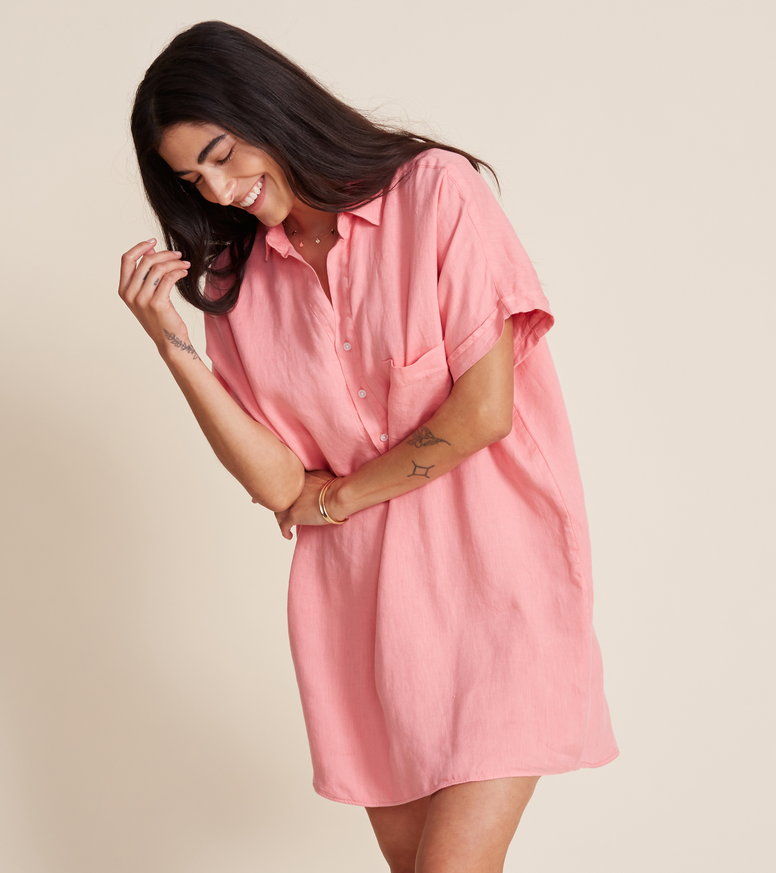Image of The Artist Short Sleeve Dress Hibiscus, Tumbled Linen