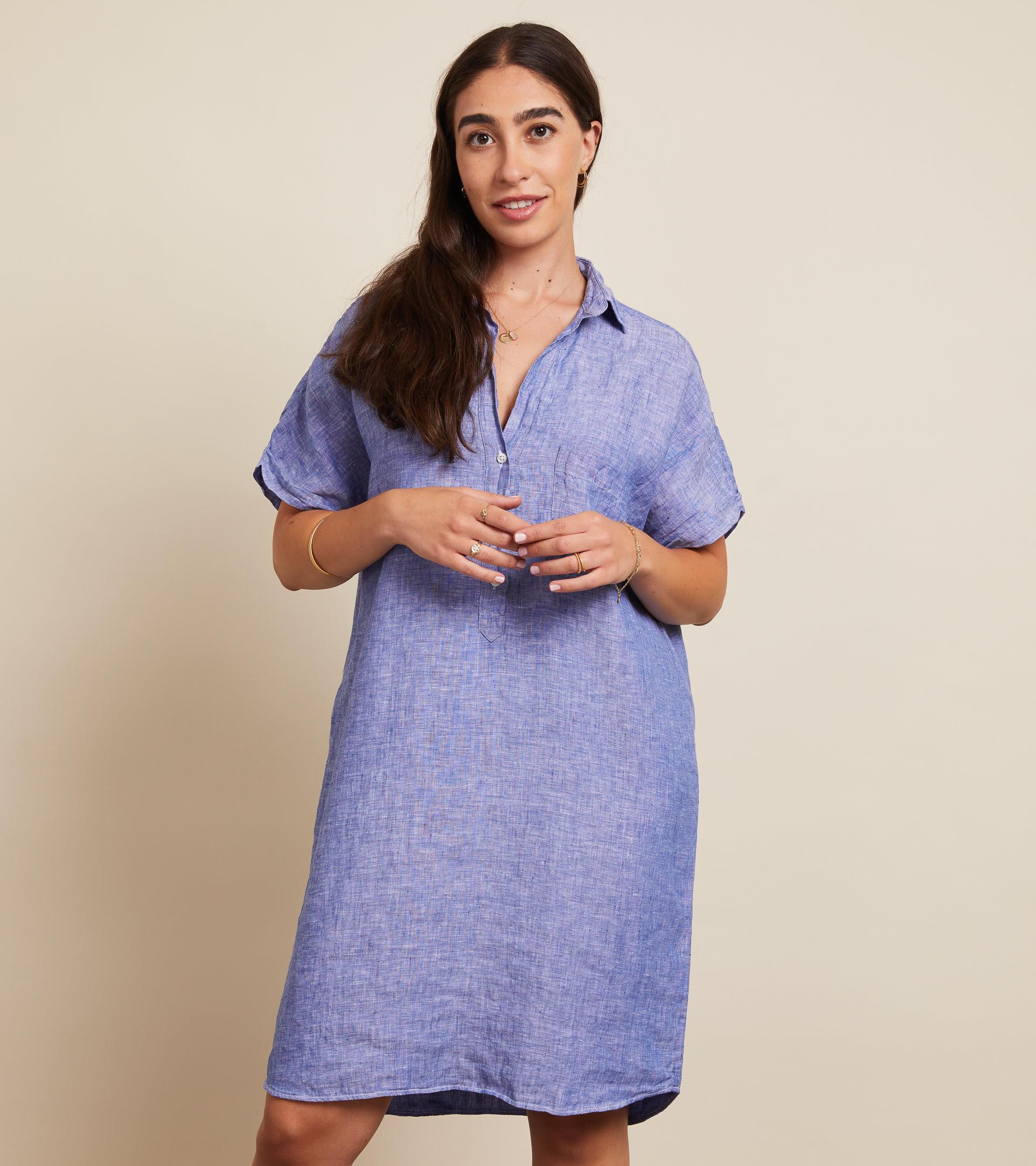 The Artist Short Sleeve Dress Dark Blue, Tumbled Linen Final Sale view 1