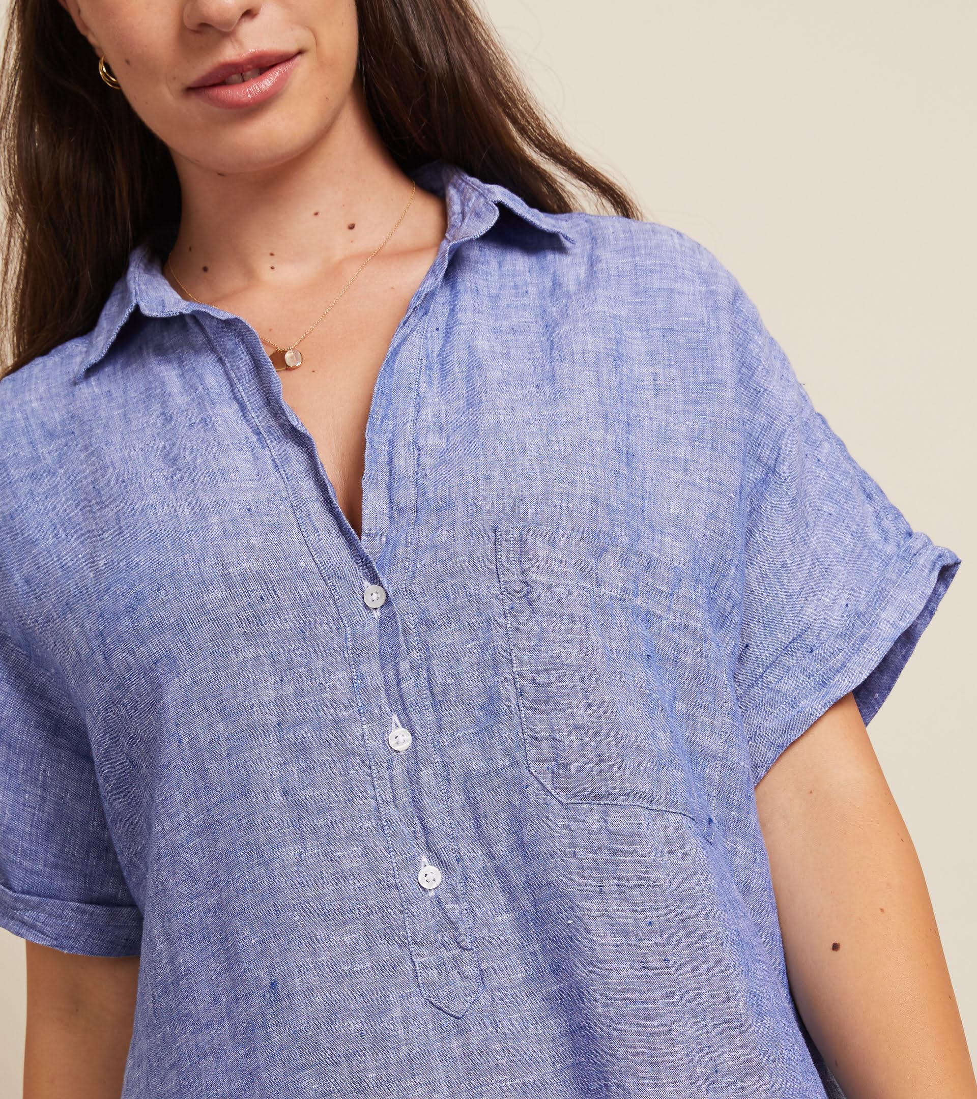 The Artist Short Sleeve Dress Dark Blue, Tumbled Linen Final Sale view 2