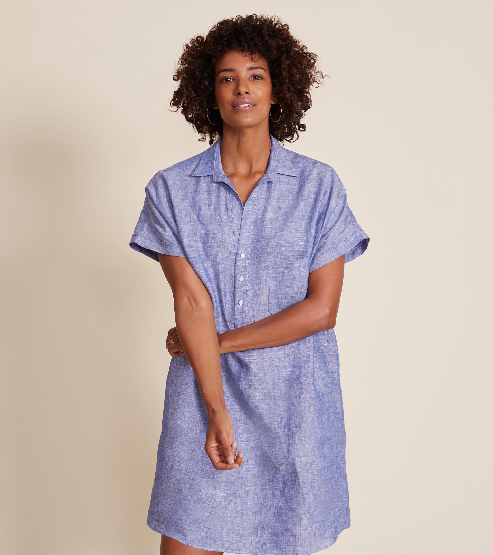 Image of The Artist Short Sleeve Dress Dark Blue, Tumbled Linen Final Sale