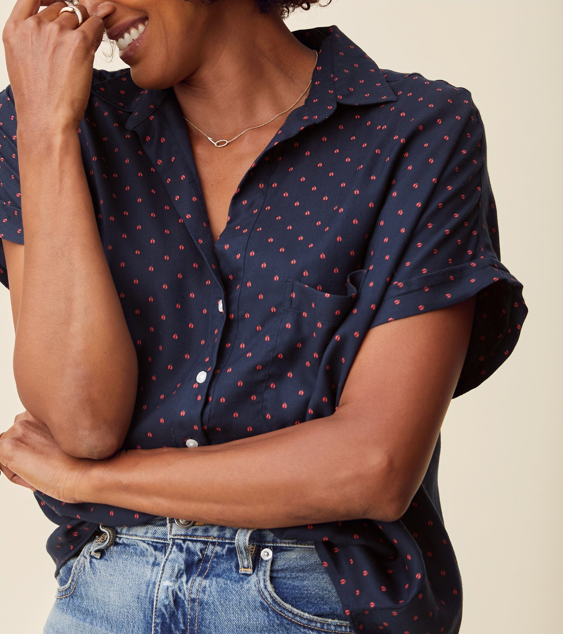 Image of The Artist Short Sleeve Shirt Navy with Red Ladybug, Liquid Flannel