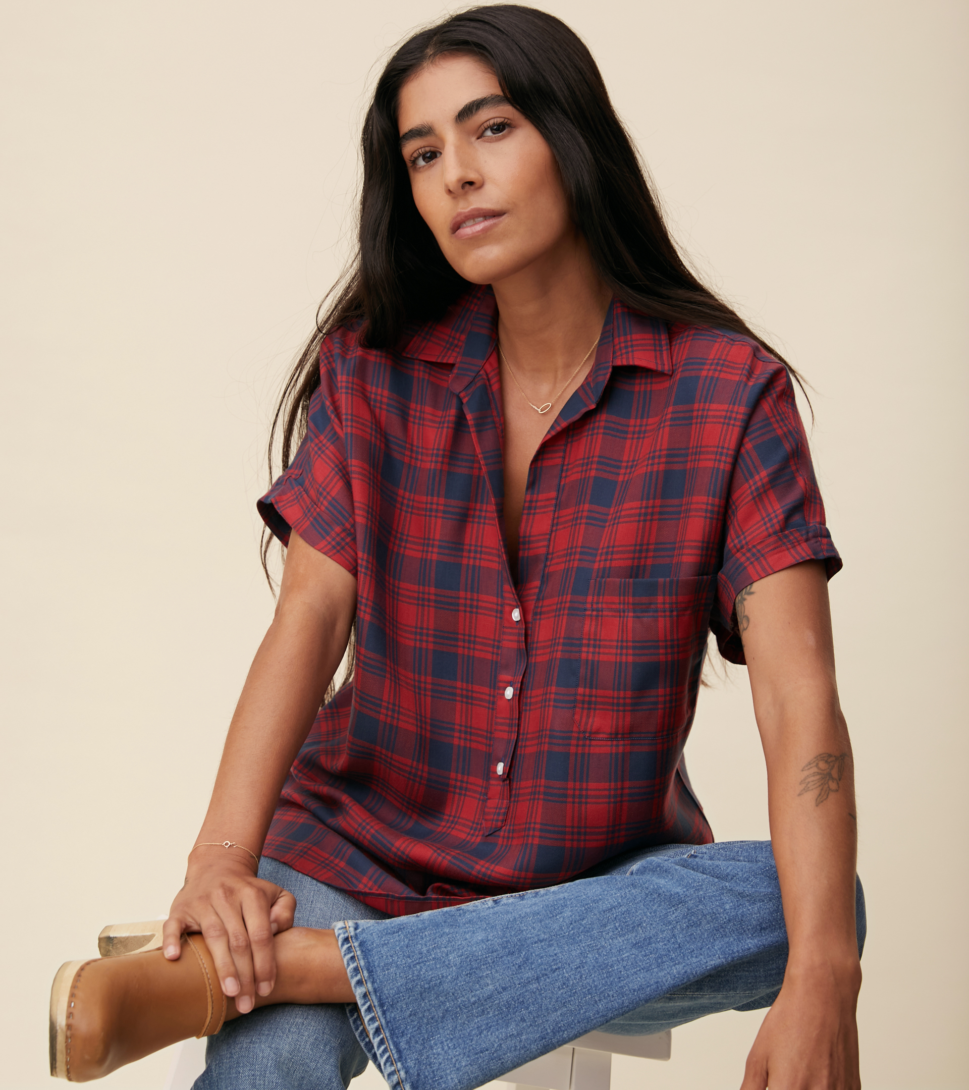 Image of The Artist Short Sleeve Shirt Red and Navy Plaid, Liquid Flannel