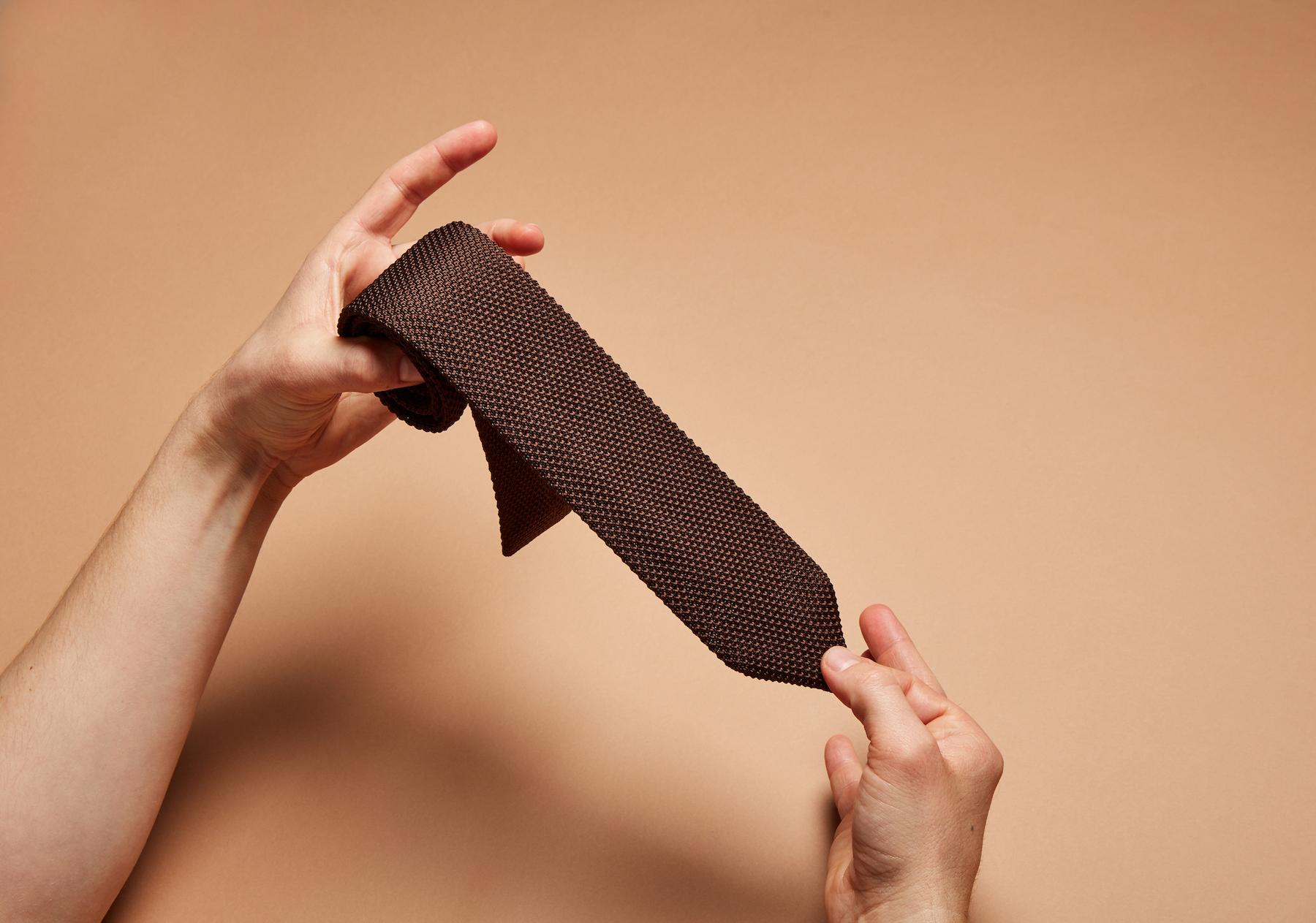 Brown Knitted Slim Tie