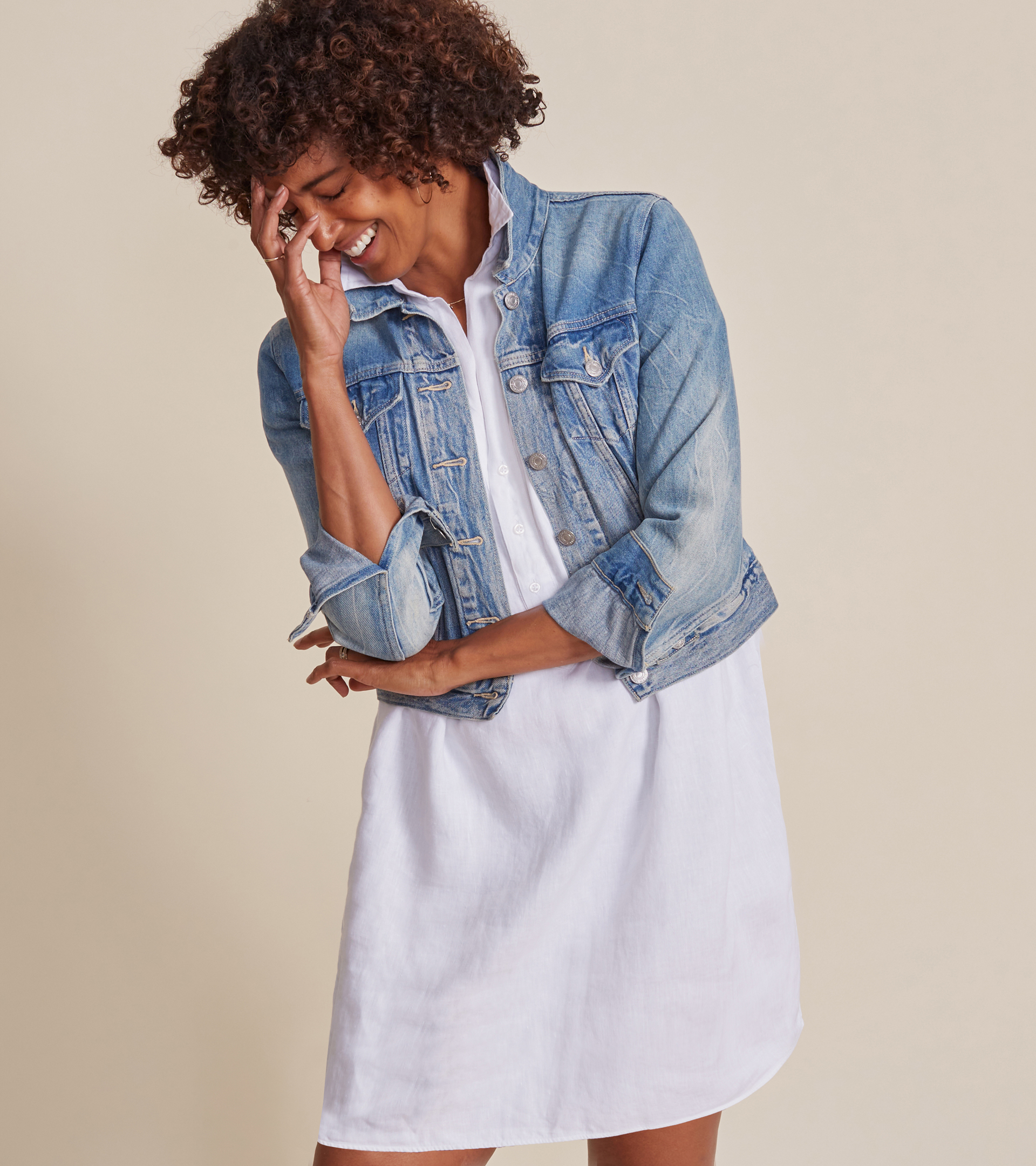 Image of The Artist Short Sleeve Dress White, Tumbled Linen Final Sale