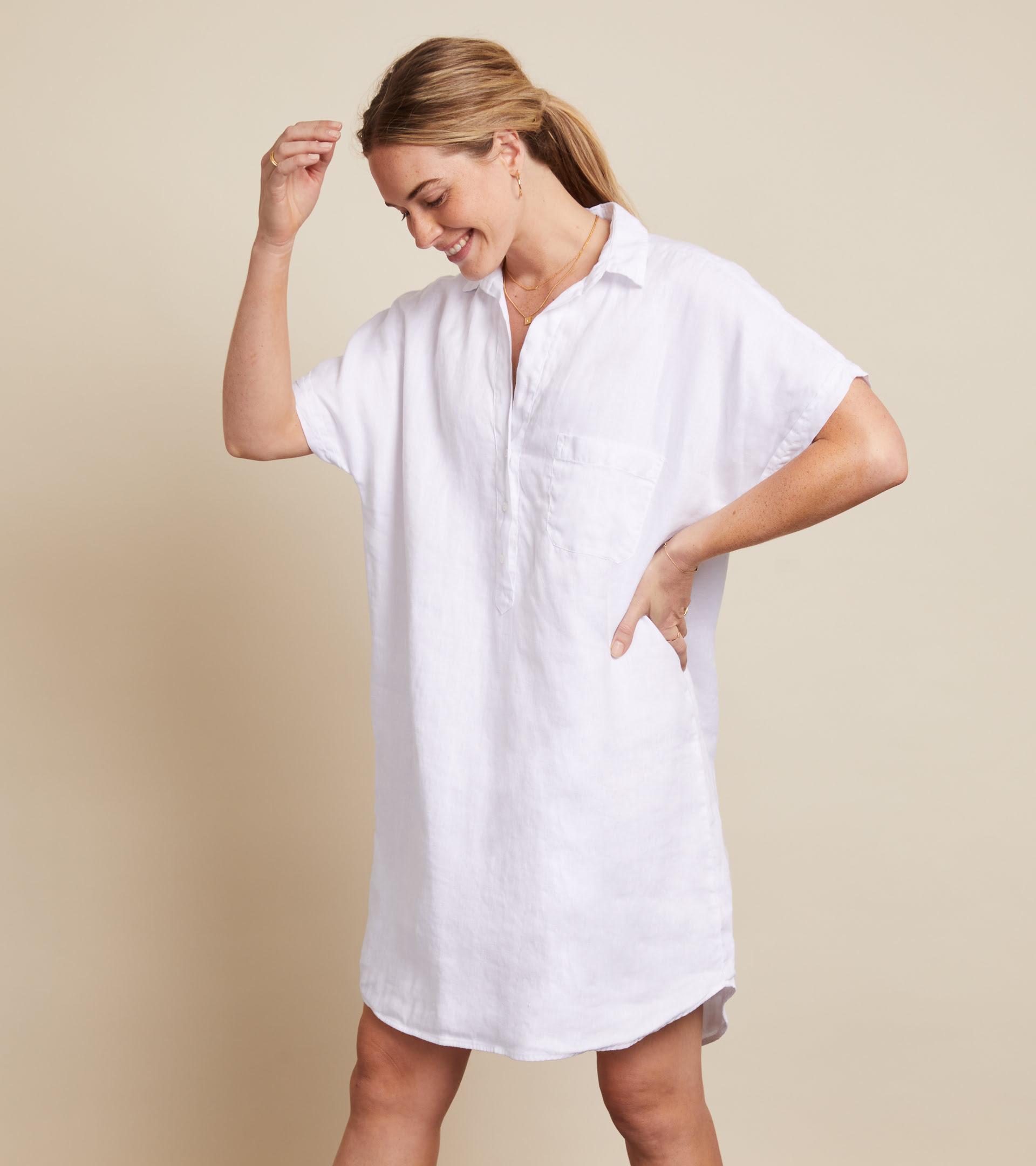 The Artist Short Sleeve Dress White, Tumbled Linen Final Sale view 1