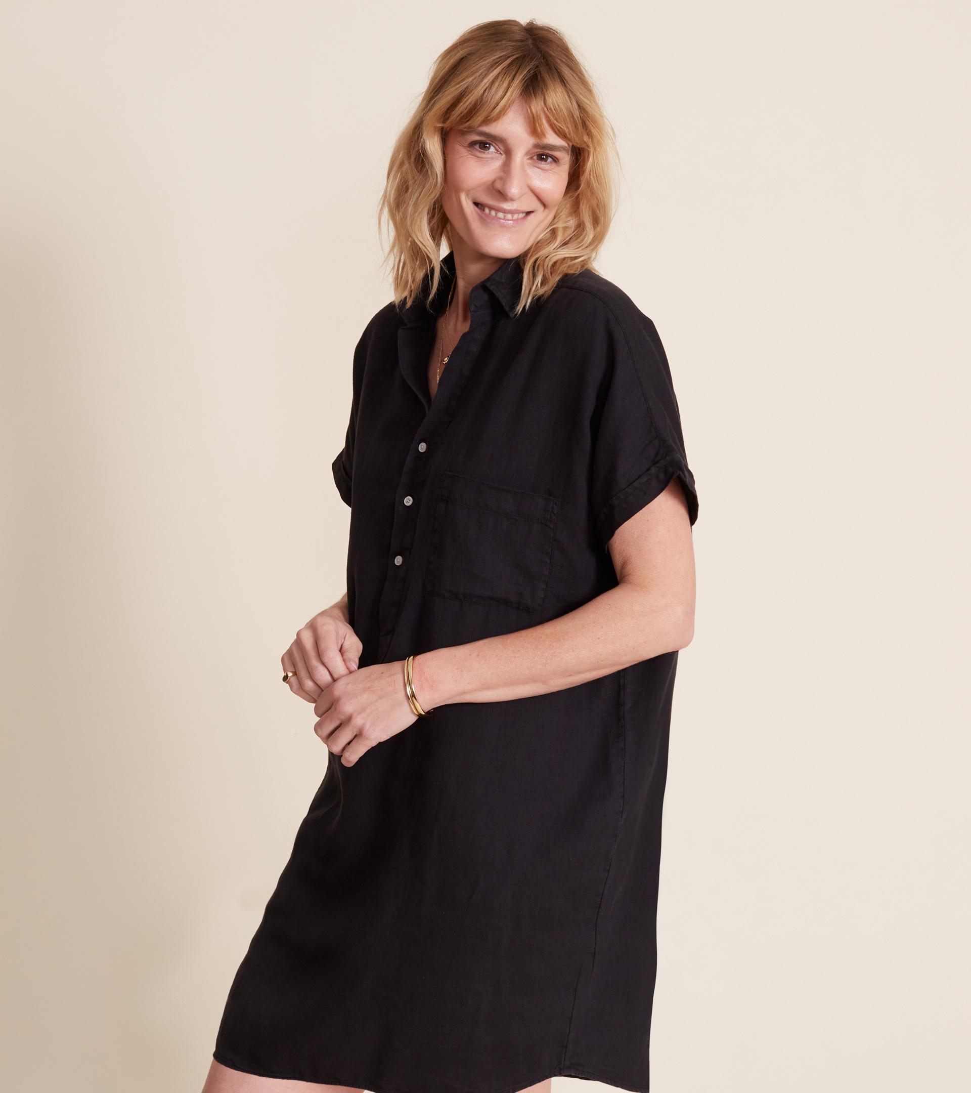 Image of The Artist Short Sleeve Dress Black, Tumbled Linen Final Sale