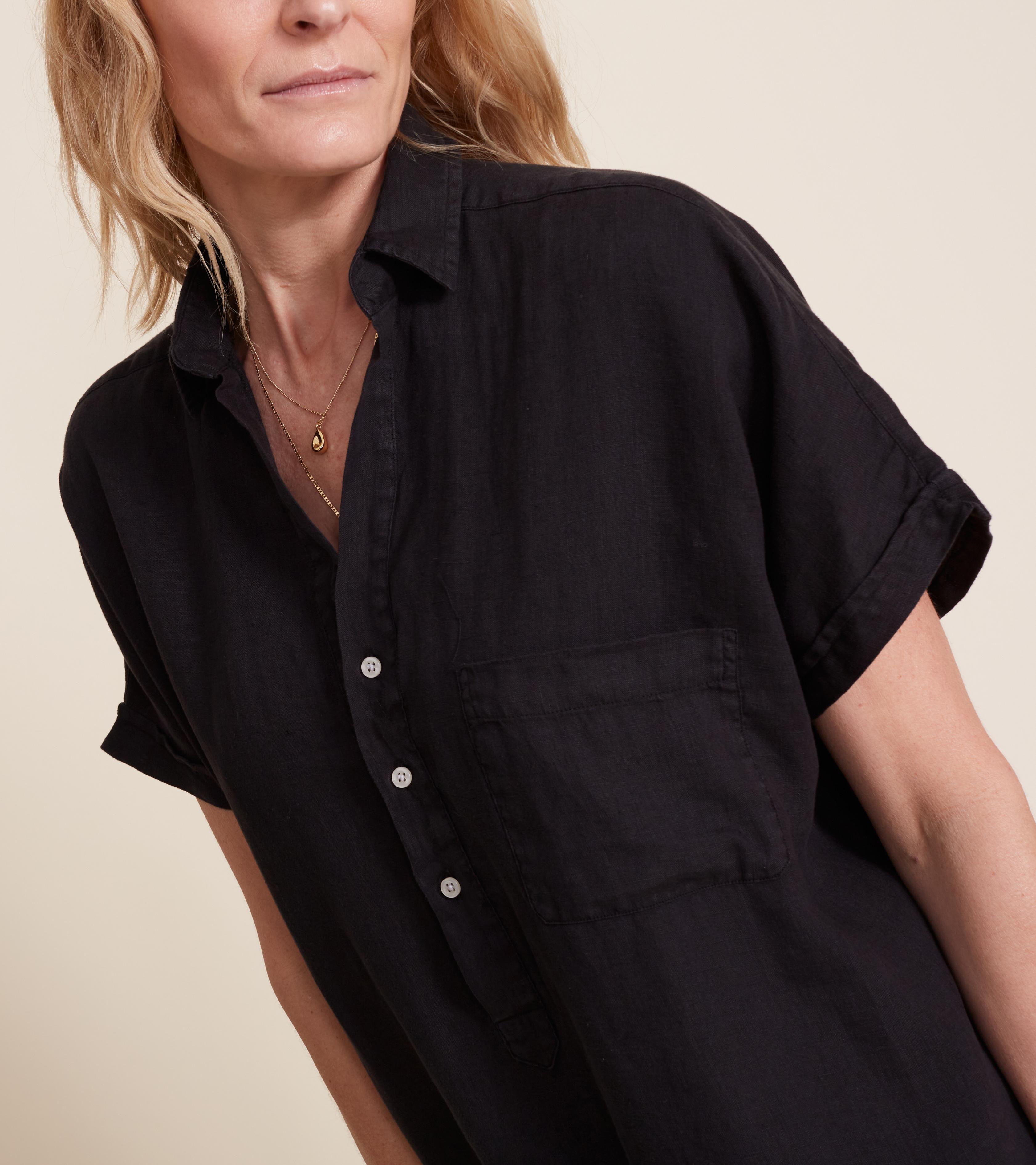 Image of The Artist Short Sleeve Dress Black, Tumbled Linen