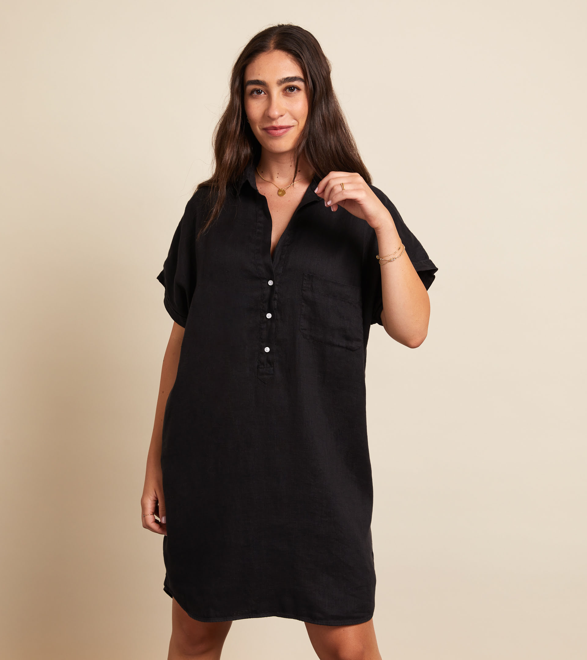 The Artist Short Sleeve Dress Black, Tumbled Linen Final Sale view 1