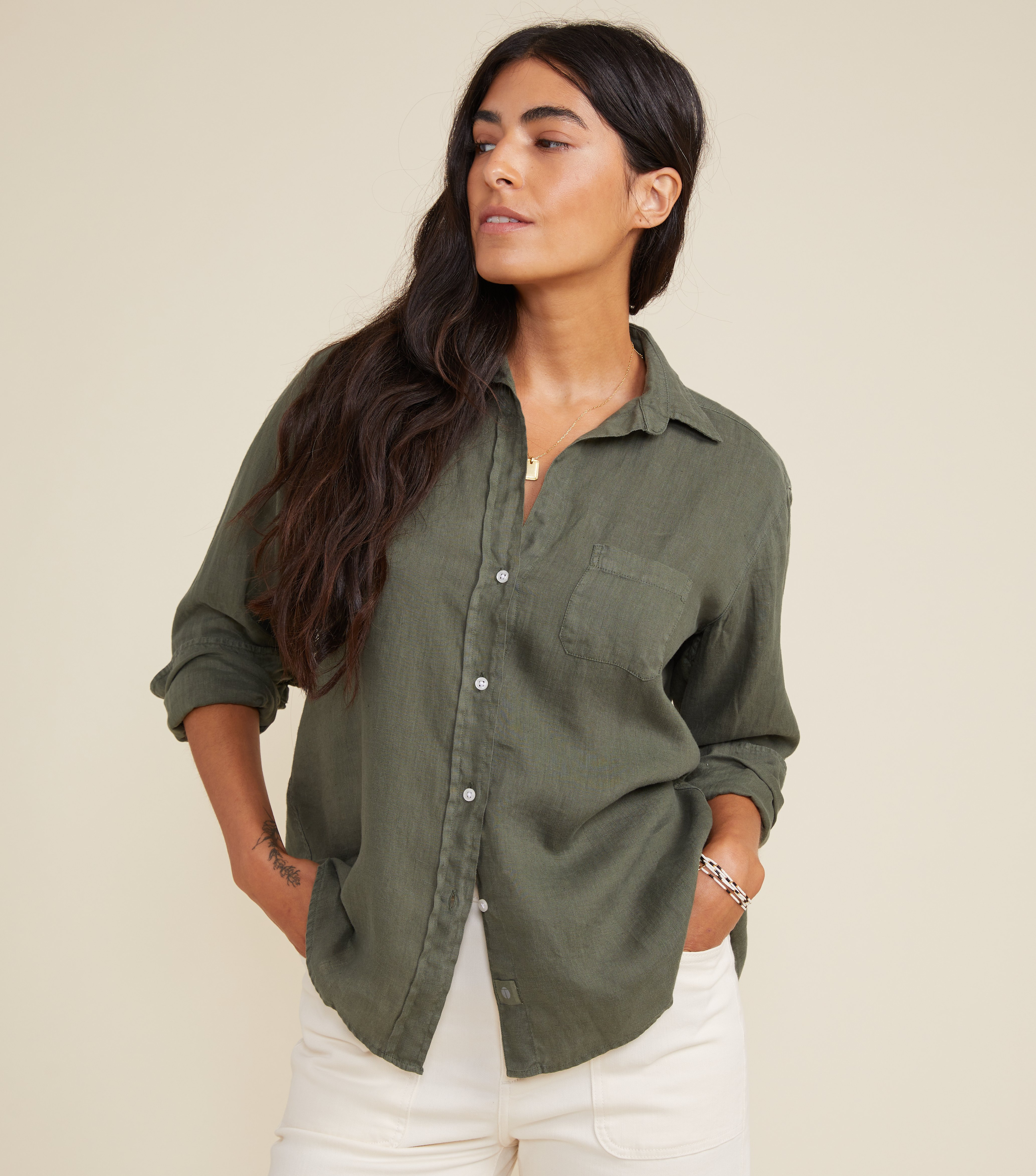 Image of The Hero Button-Up Shirt Army Green, Tumbled Linen