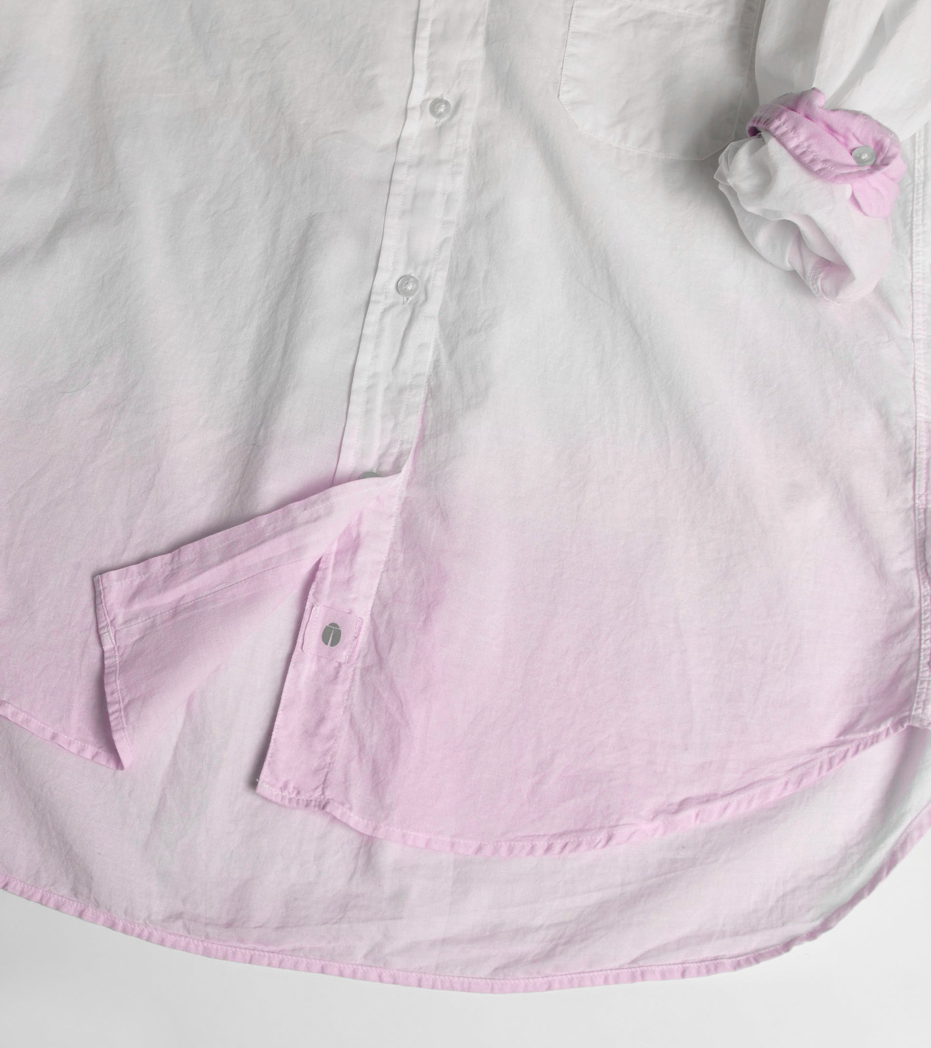 Image of The Hero Button-Up Shirt Pink Dip Dye, Tissue Cotton