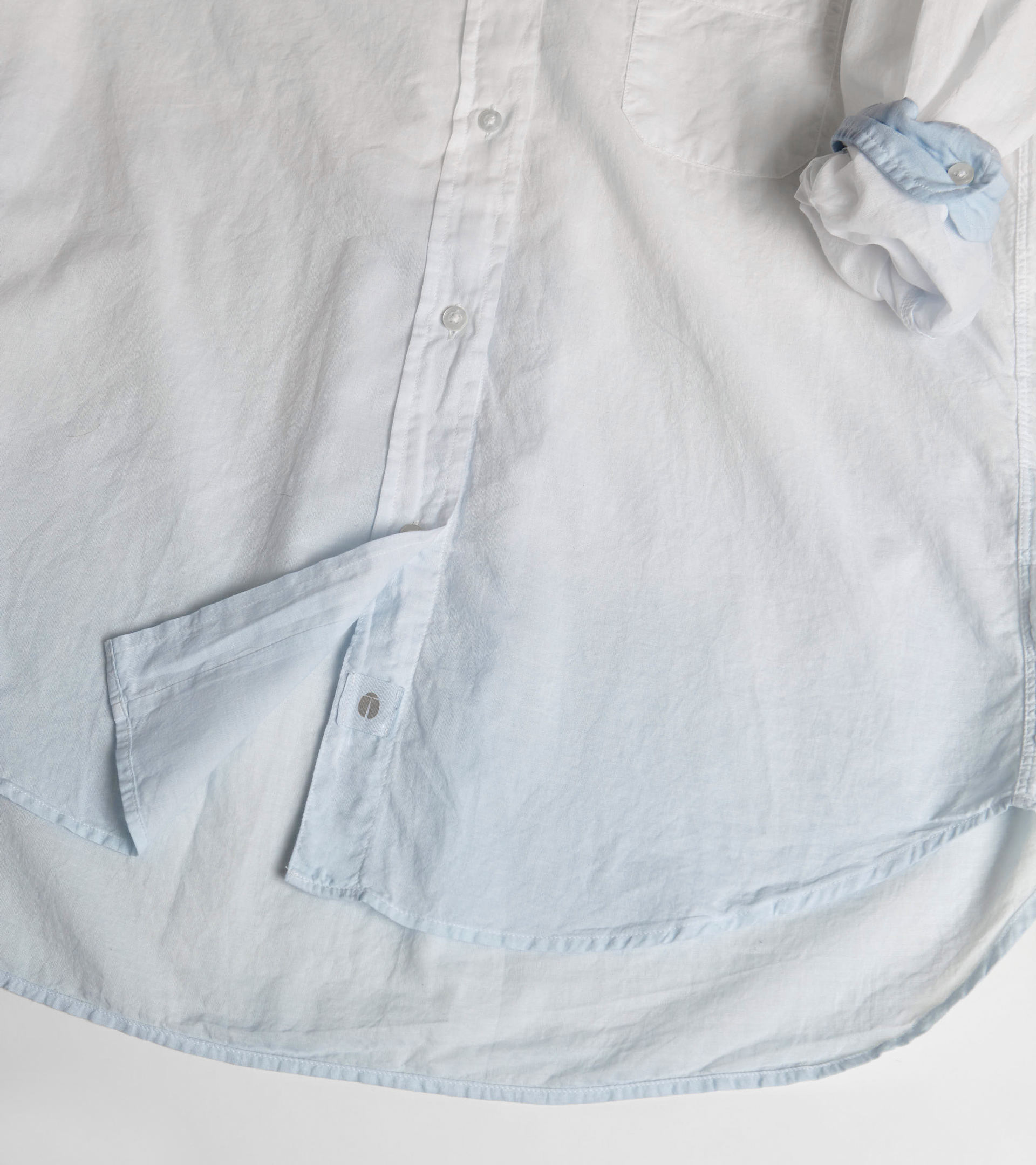 Image of The Hero Button-Up Shirt Blue Dip Dye, Tissue Cotton