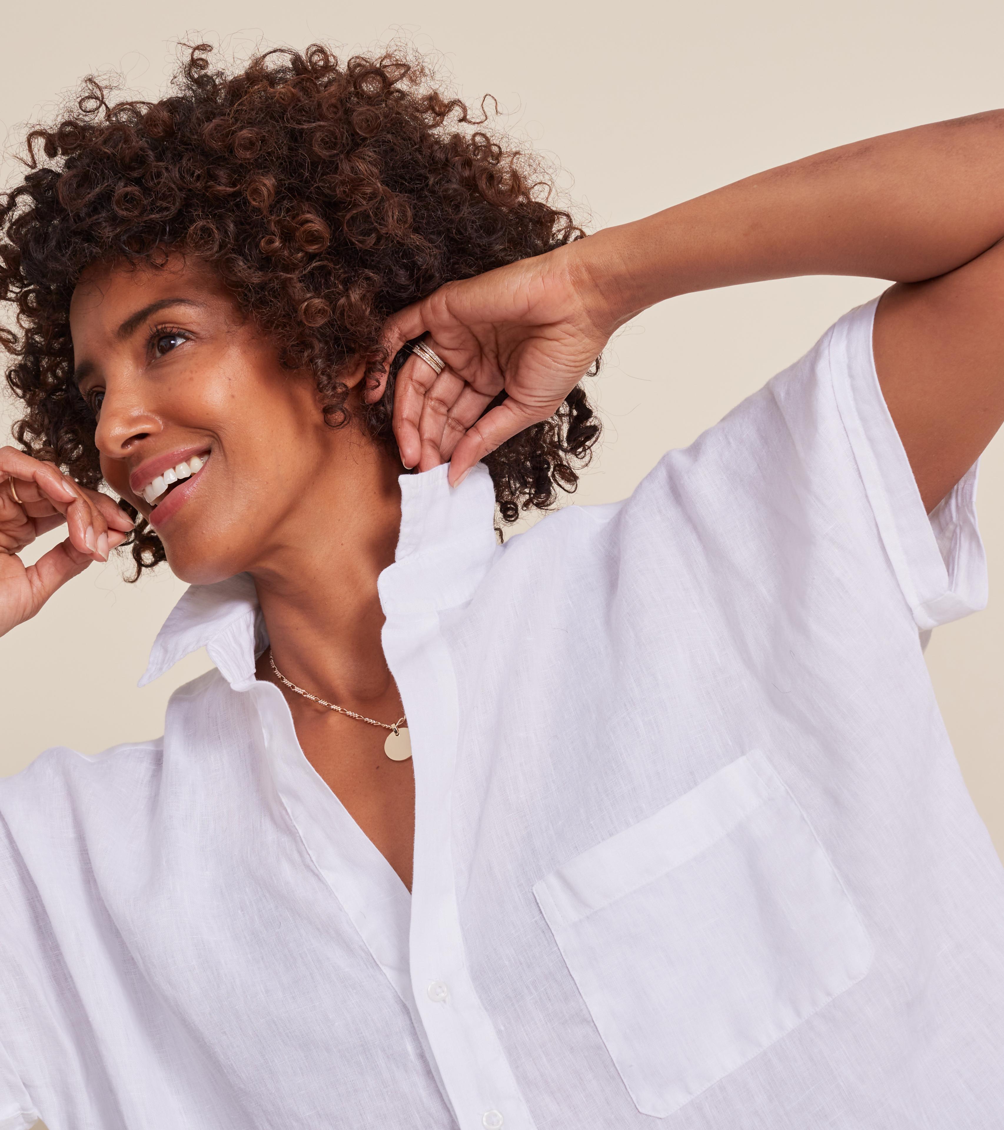 Image of The Artist Short Sleeve Shirt White, Tumbled Linen Final Sale