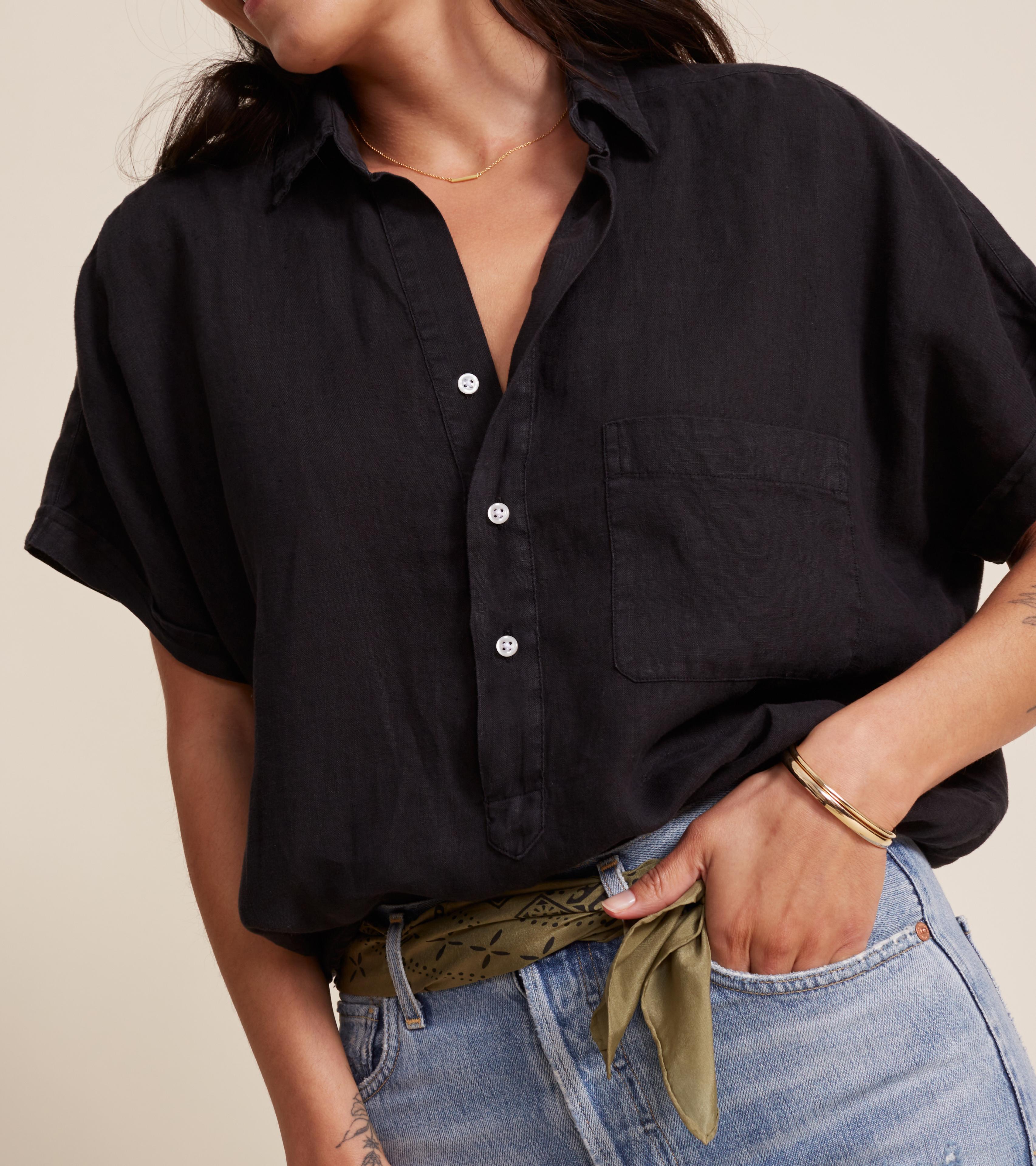 Image of The Artist Short Sleeve Shirt Black, Tumbled Linen Final Sale
