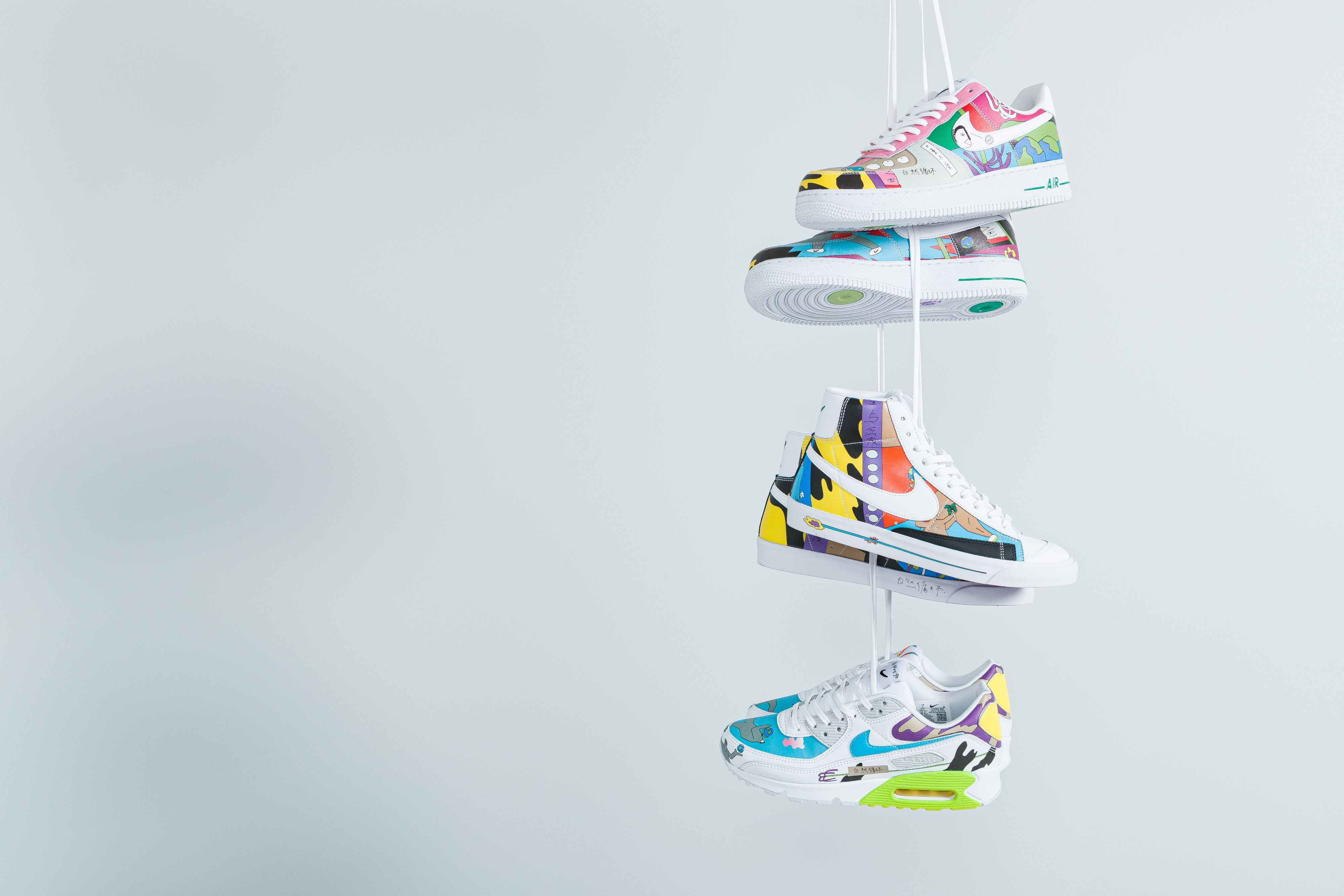 Nike X Ruohan Wang - Flyleather Air Force 1, Air Max 90 & Blazer Mid 77