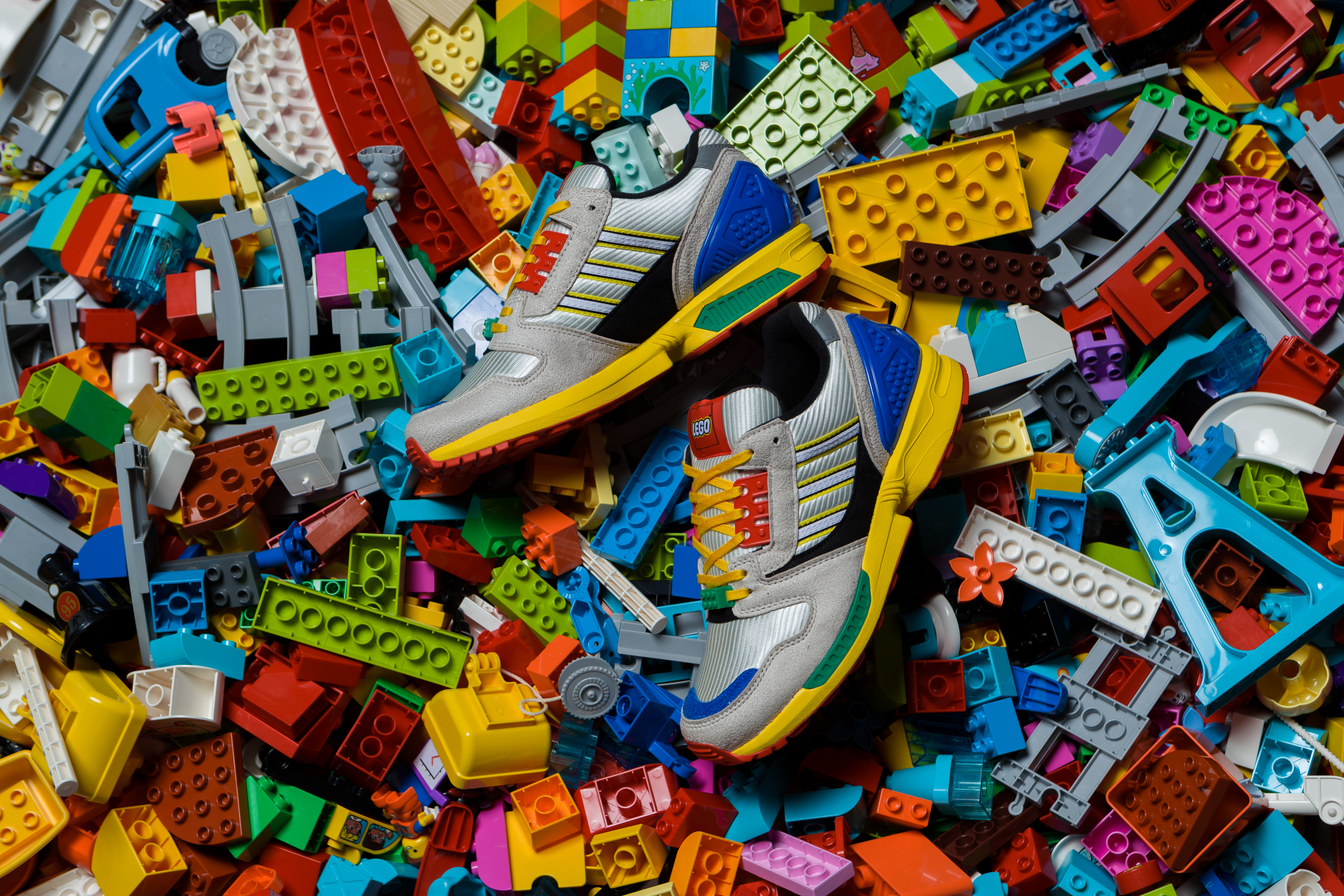 L is for Lego: adidas Originals celebrate everyone's favourite interlocking blocks with their latest instalment of the A-ZX with the Lego ZX 8000.