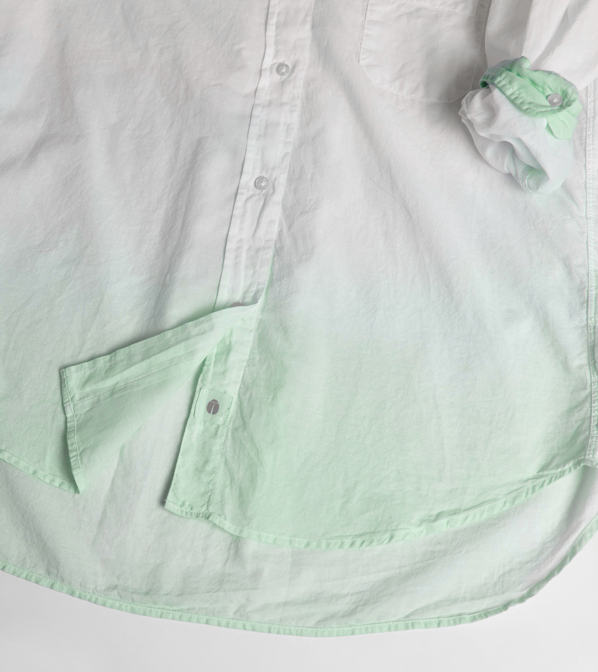 Image of The Hero Button-Up Shirt Mint Dip-Dye, Tissue Cotton
