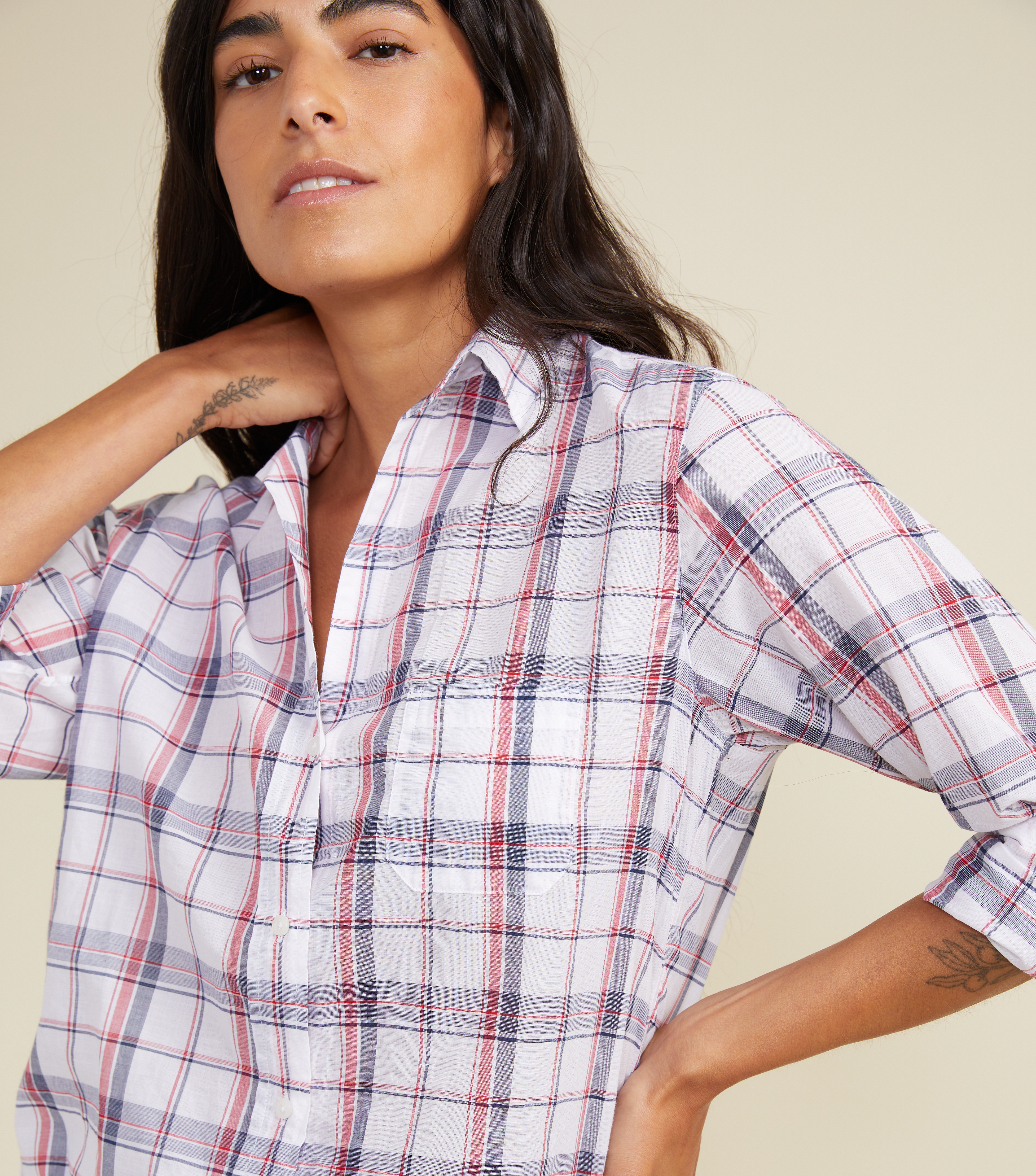 Image of The Hero White with Navy and Red Plaid, Tissue Cotton Final Sale