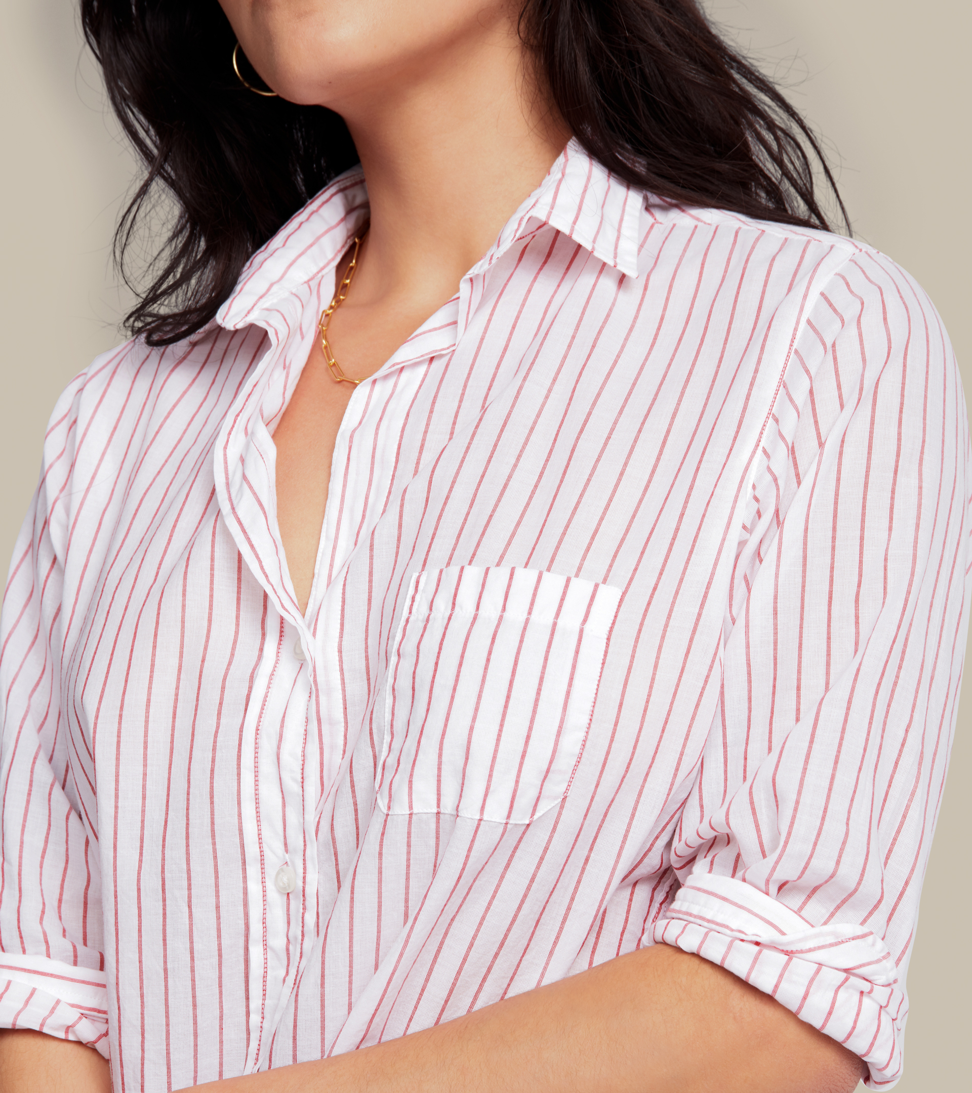 Image of The Hero Button-Up Shirt Red Stripes, Tissue Cotton