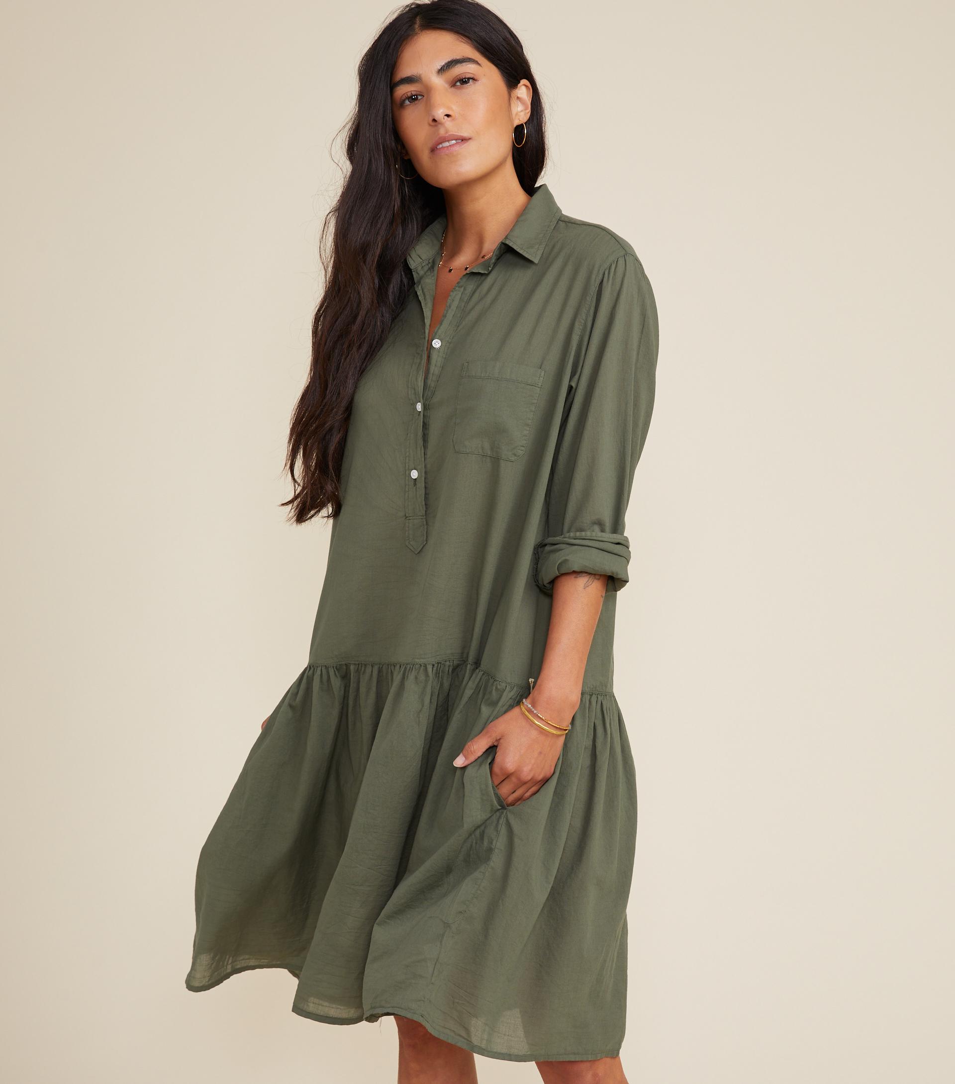 The Changemaker Dress Army Green, Tissue Cotton view 1