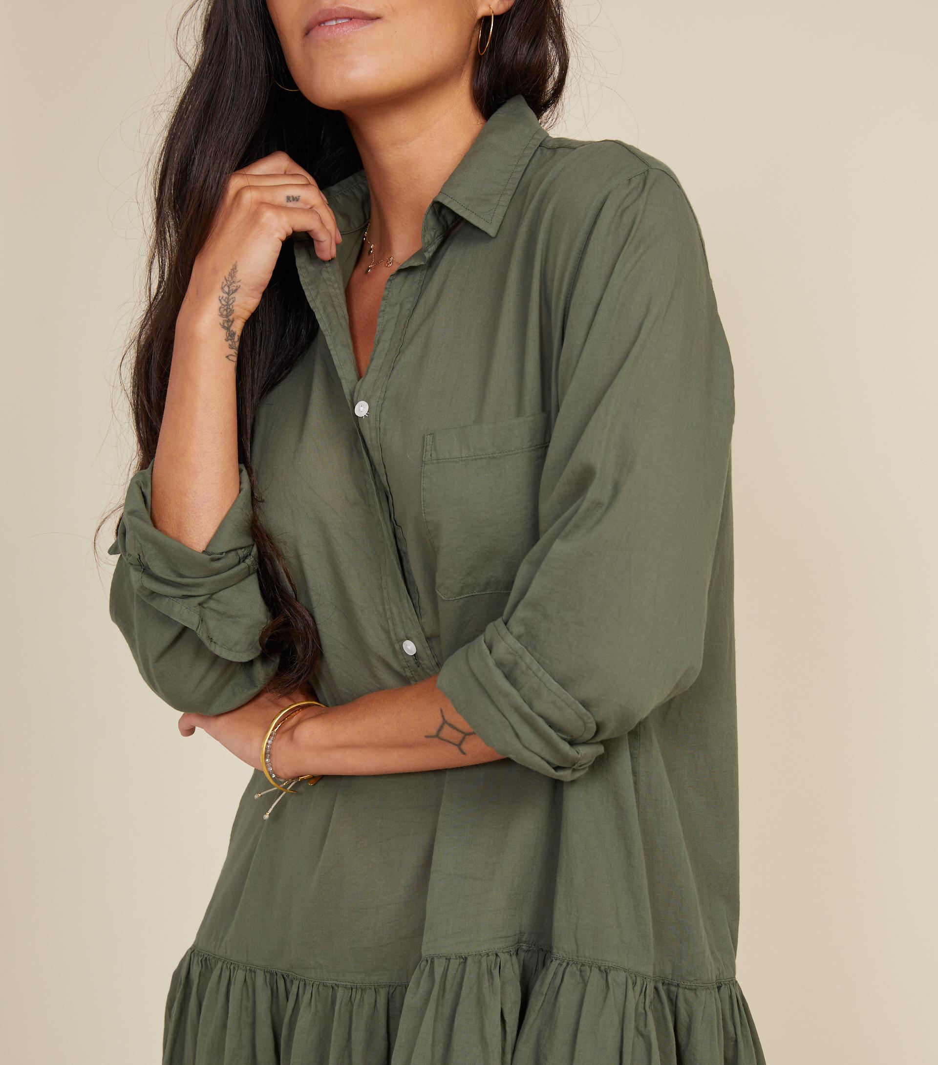 The Changemaker Dress Army Green, Tissue Cotton view 2