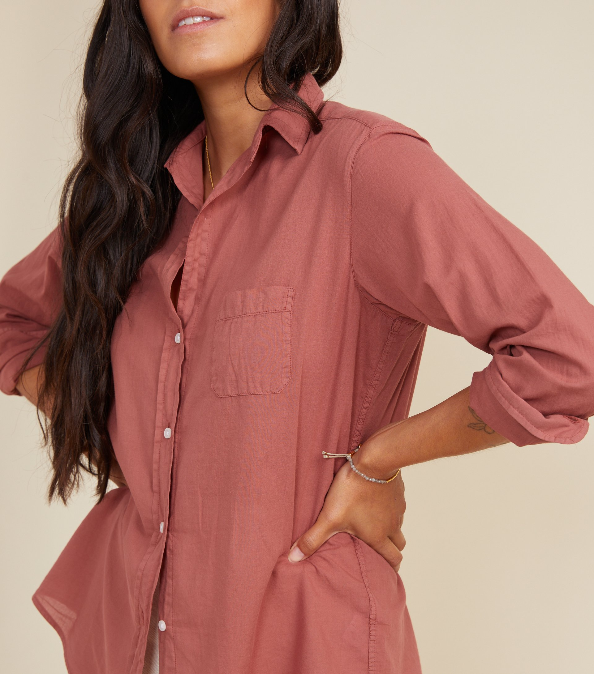 Image of The Hero Button-Up Shirt Rosewood, Tissue Cotton